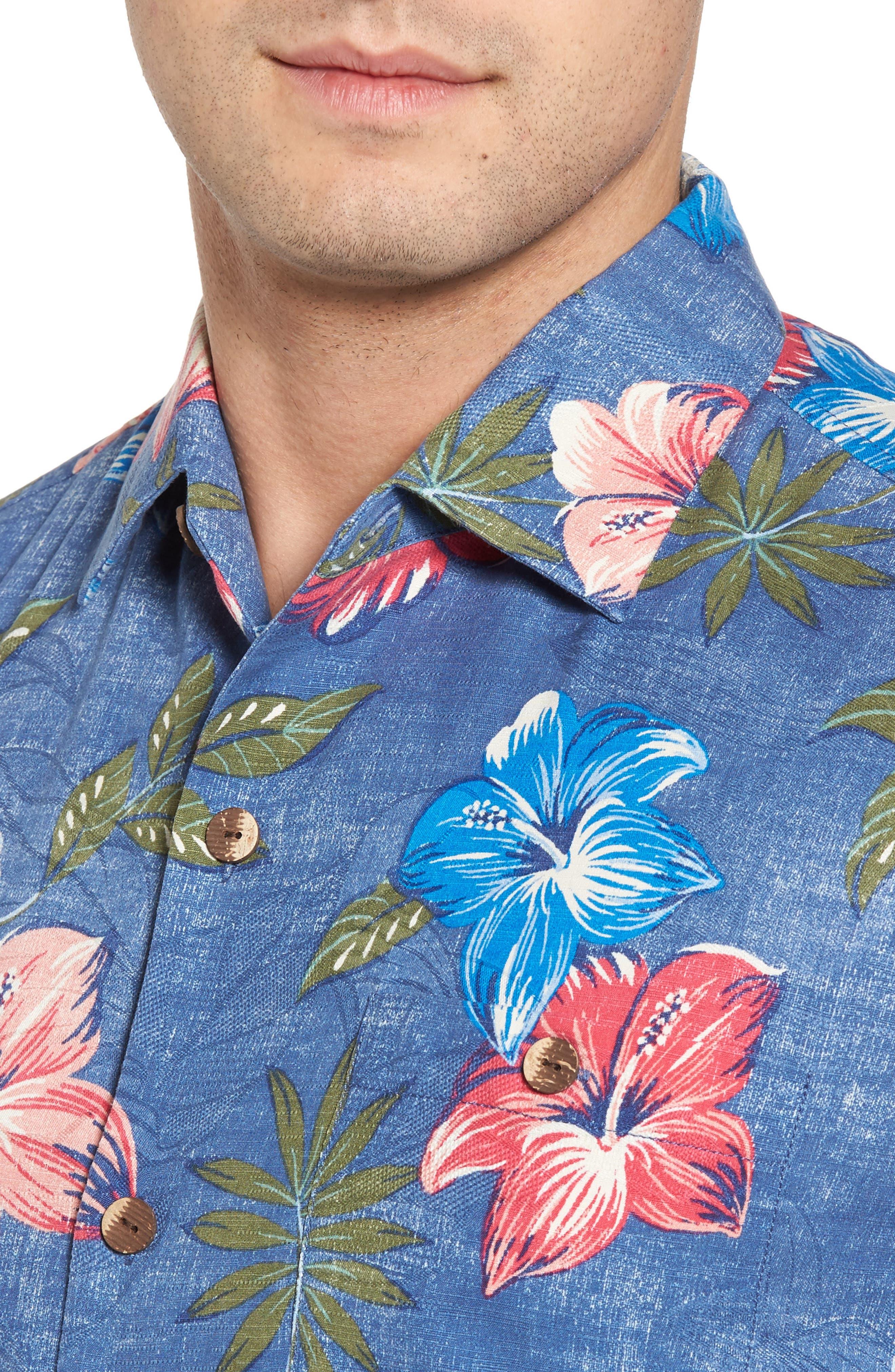 Hibiscus in the Mist Floral Silk Blend Sport Shirt,                             Alternate thumbnail 4, color,                             Dockside Blue