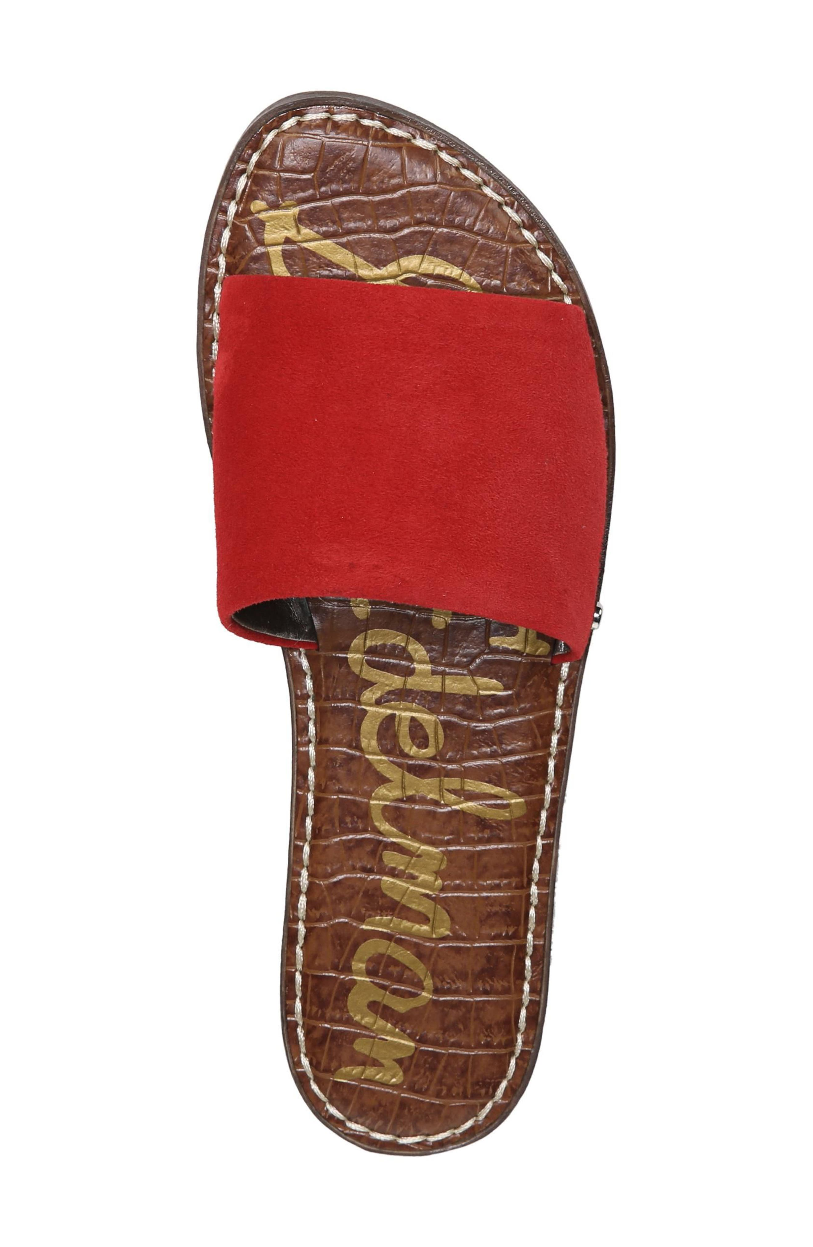 Gio Slide Sandal,                             Alternate thumbnail 5, color,                             Red Suede