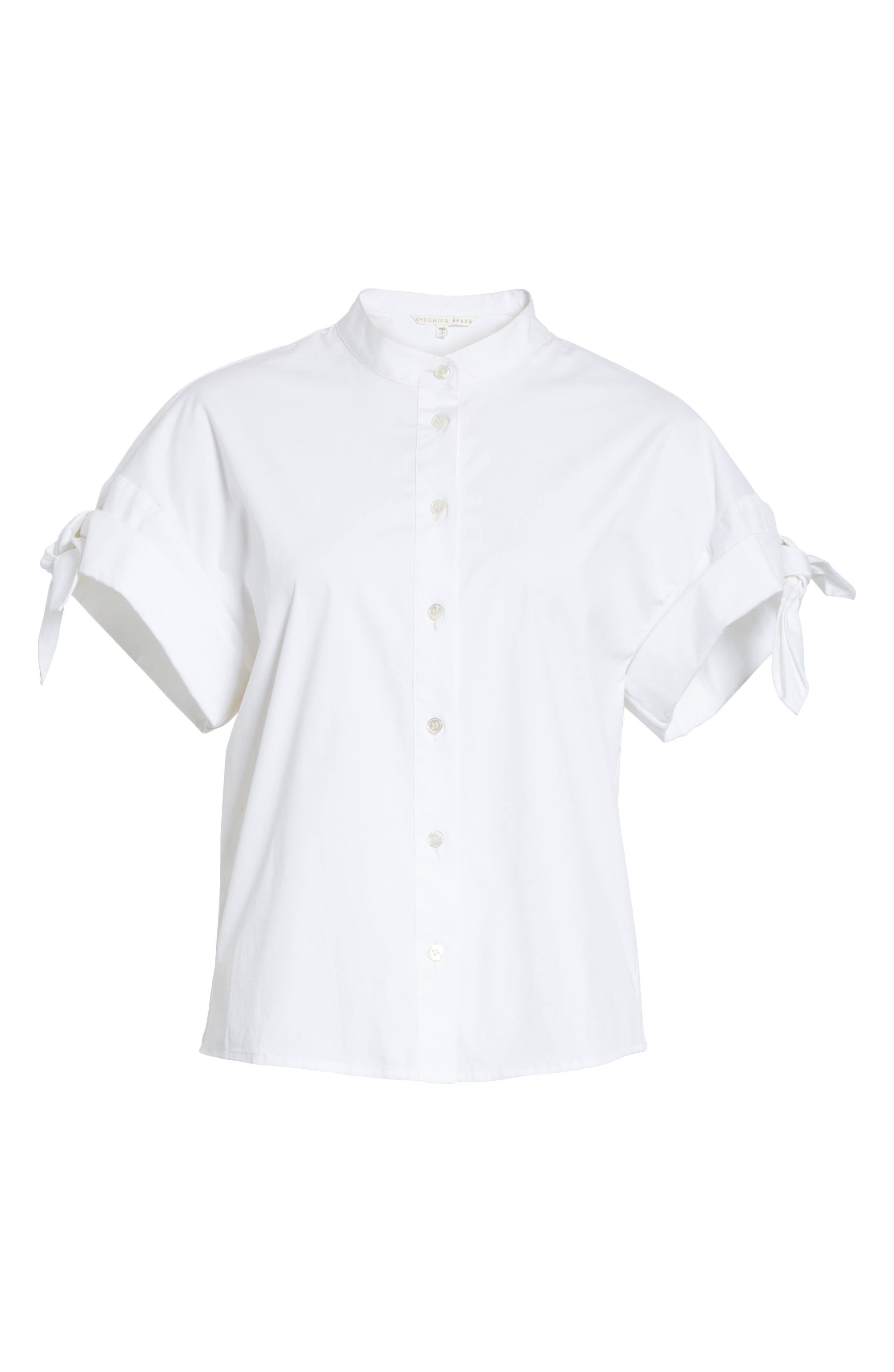 Sanaa Stretch Cotton Shirt,                             Alternate thumbnail 6, color,                             White
