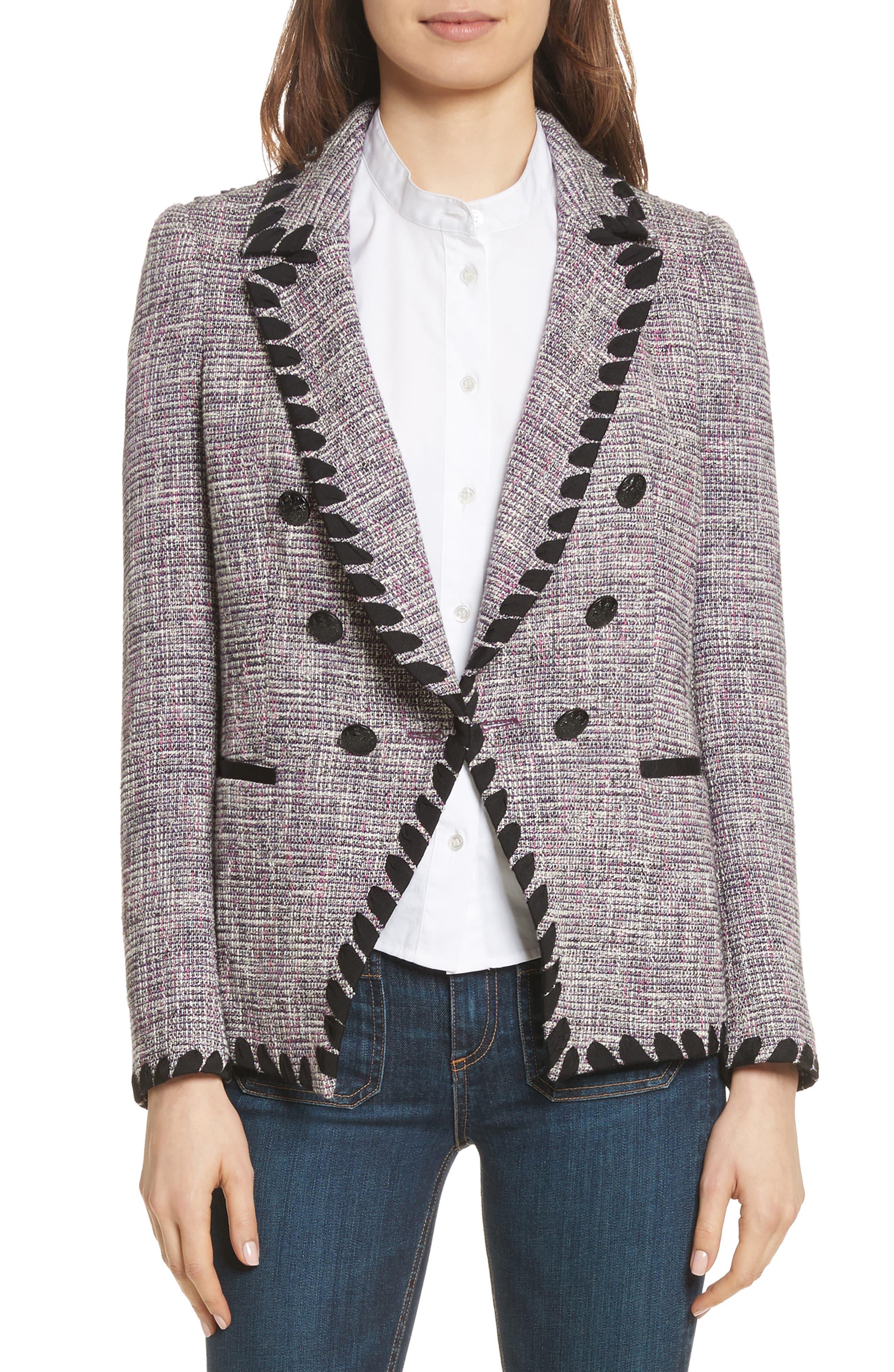 Octivia Tweed Blazer,                             Main thumbnail 1, color,                             Pink/ Black/ White