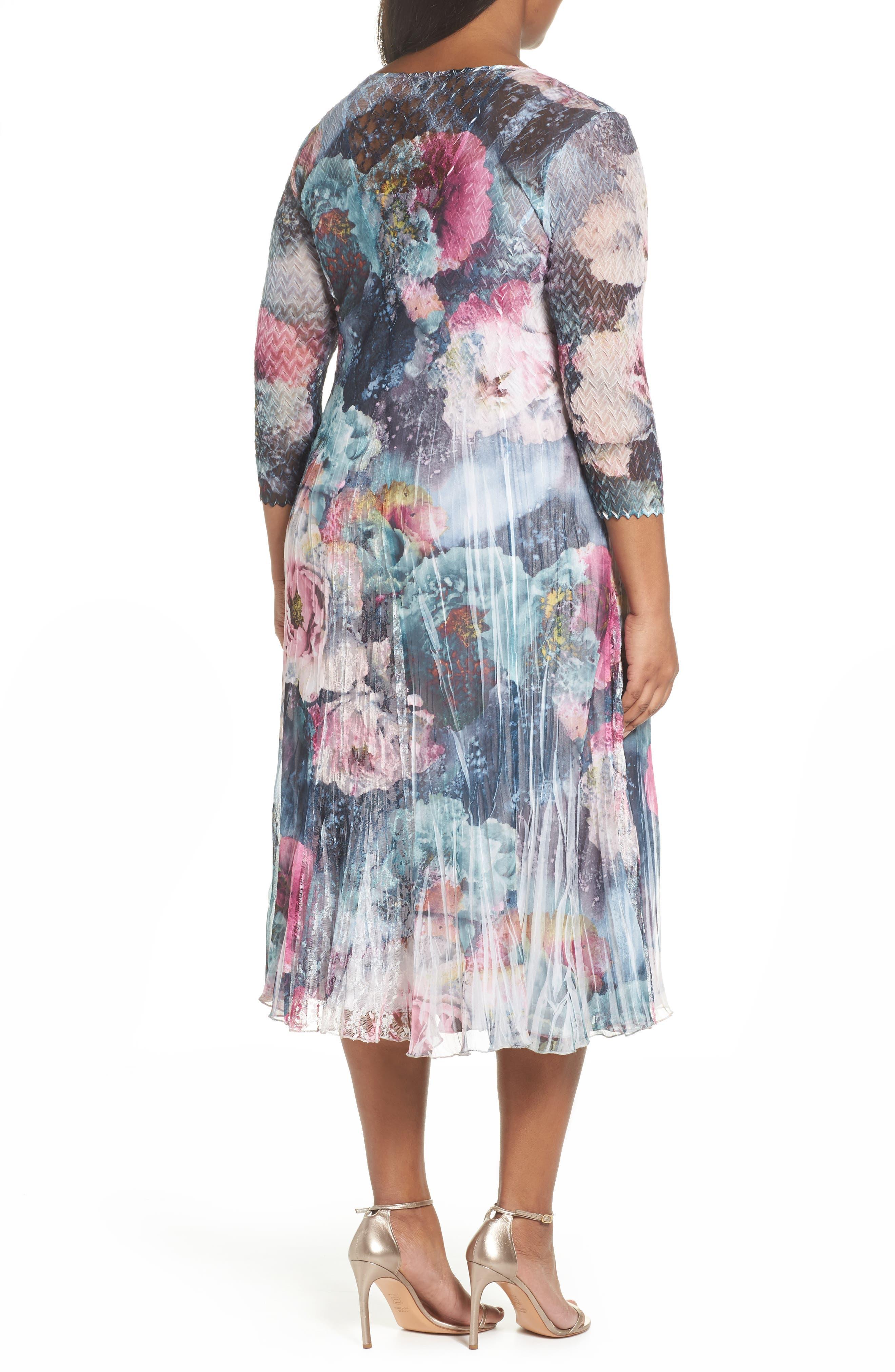 Dress Floral Chiffon & Lace Dress,                             Alternate thumbnail 2, color,                             Rapture Rose