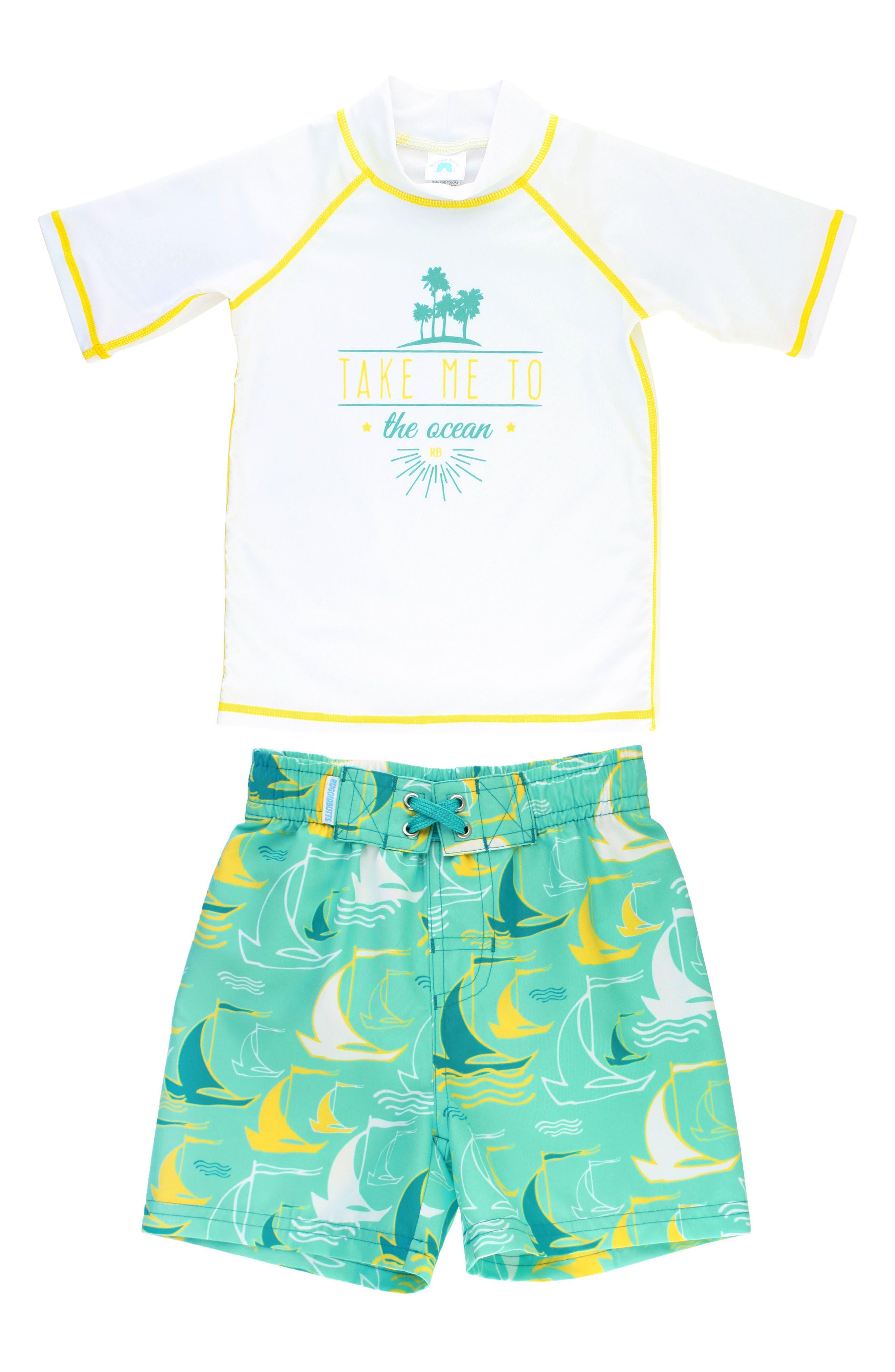 Take Me to the Ocean Rashguard & Board Shorts Set,                             Main thumbnail 1, color,                             Blue