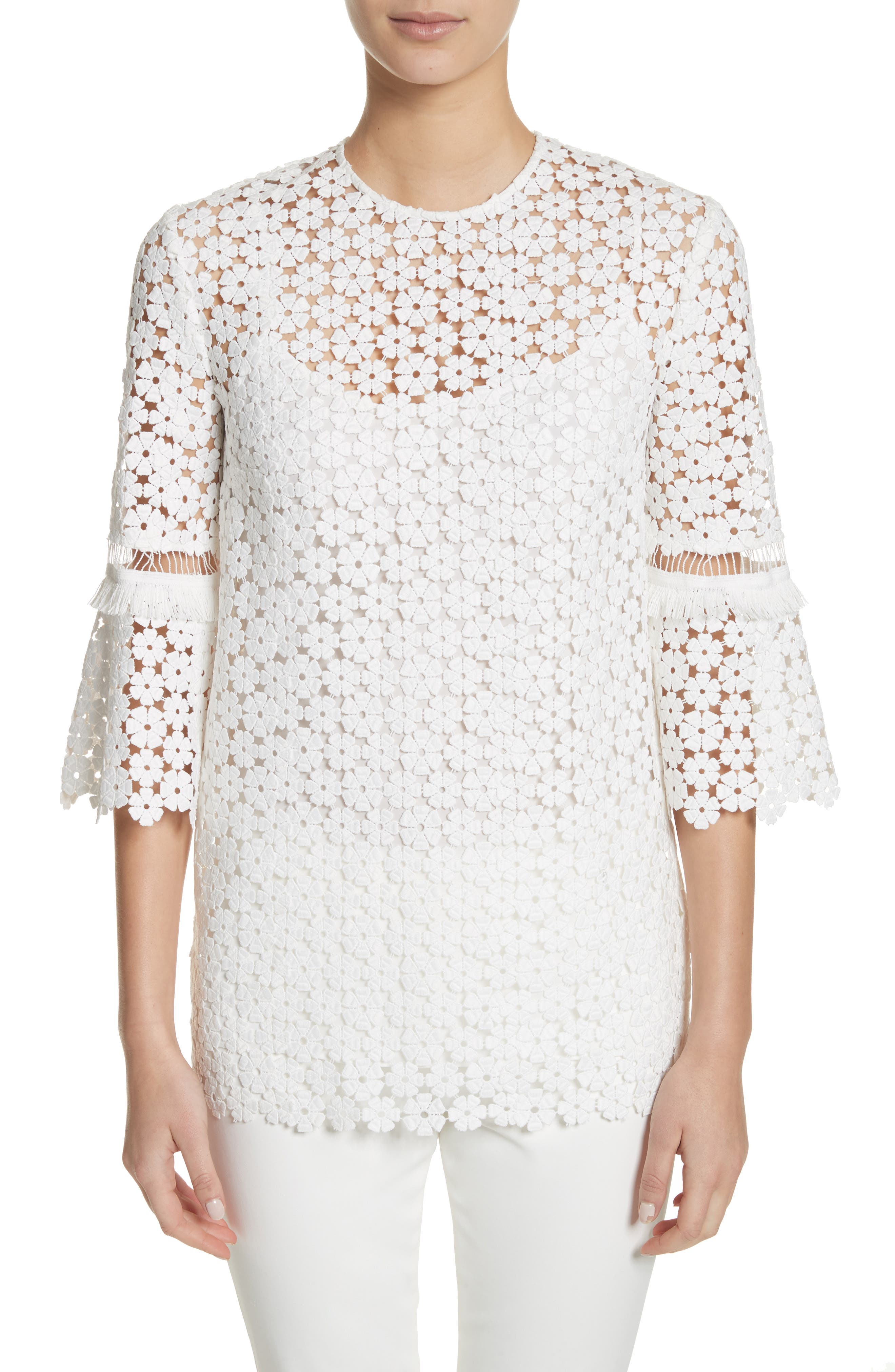 Flare Sleeve Lace Top,                             Main thumbnail 1, color,                             White