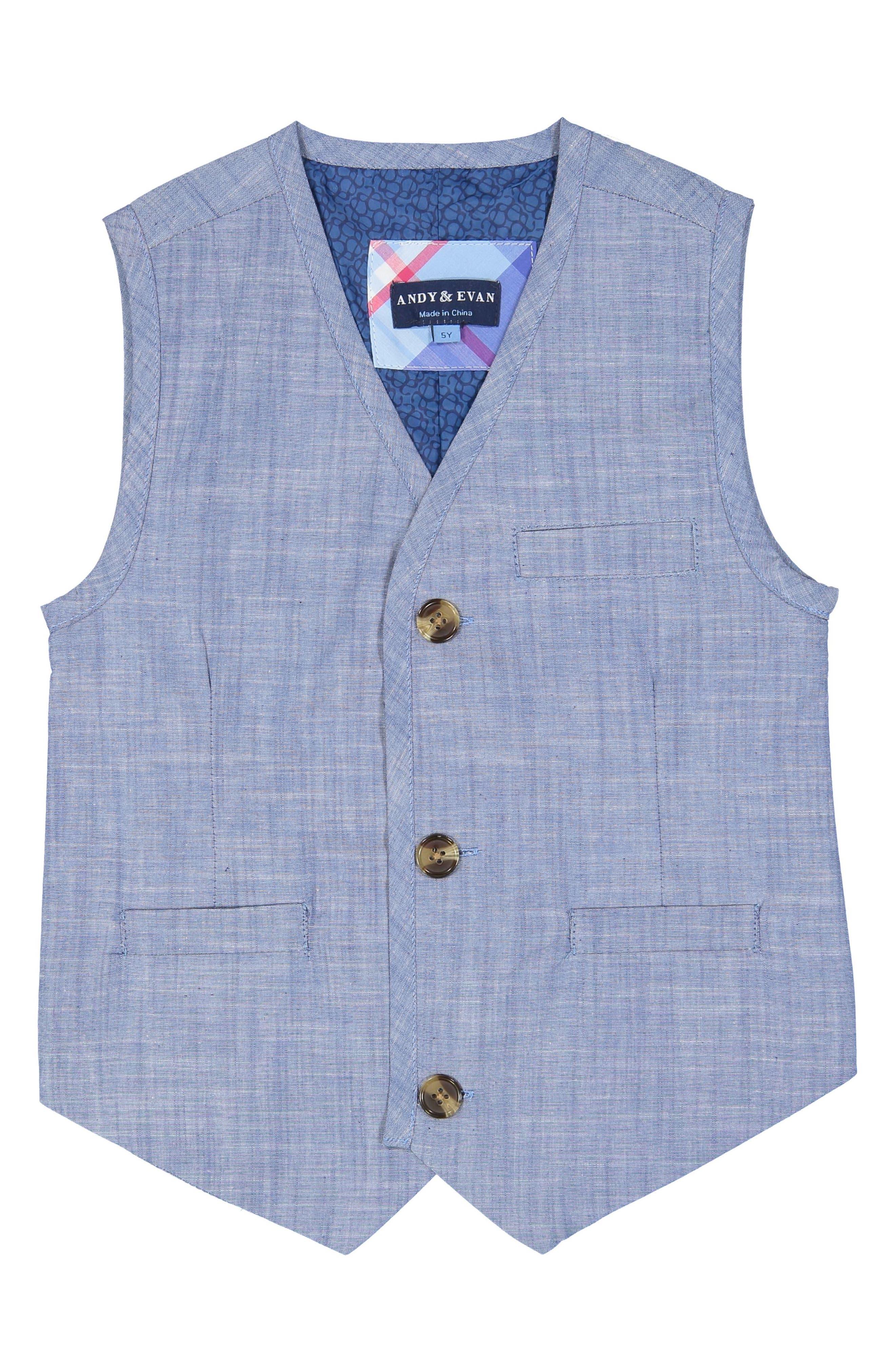 Chambray Vest & Pants Set,                             Alternate thumbnail 2, color,                             Blue