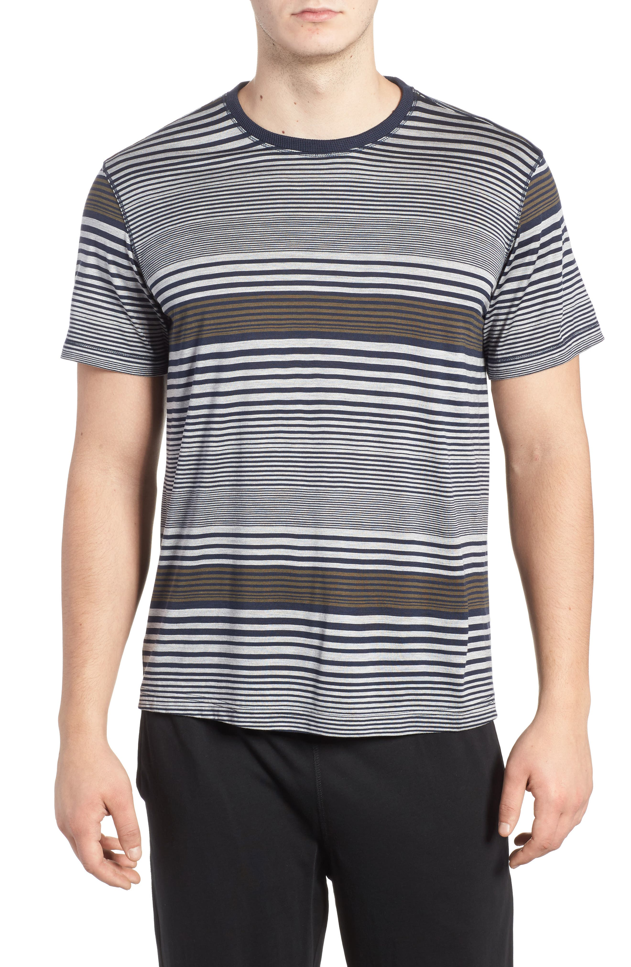 Stripe Silk & Cotton T-Shirt,                         Main,                         color, Midnight/ Grey/ Army