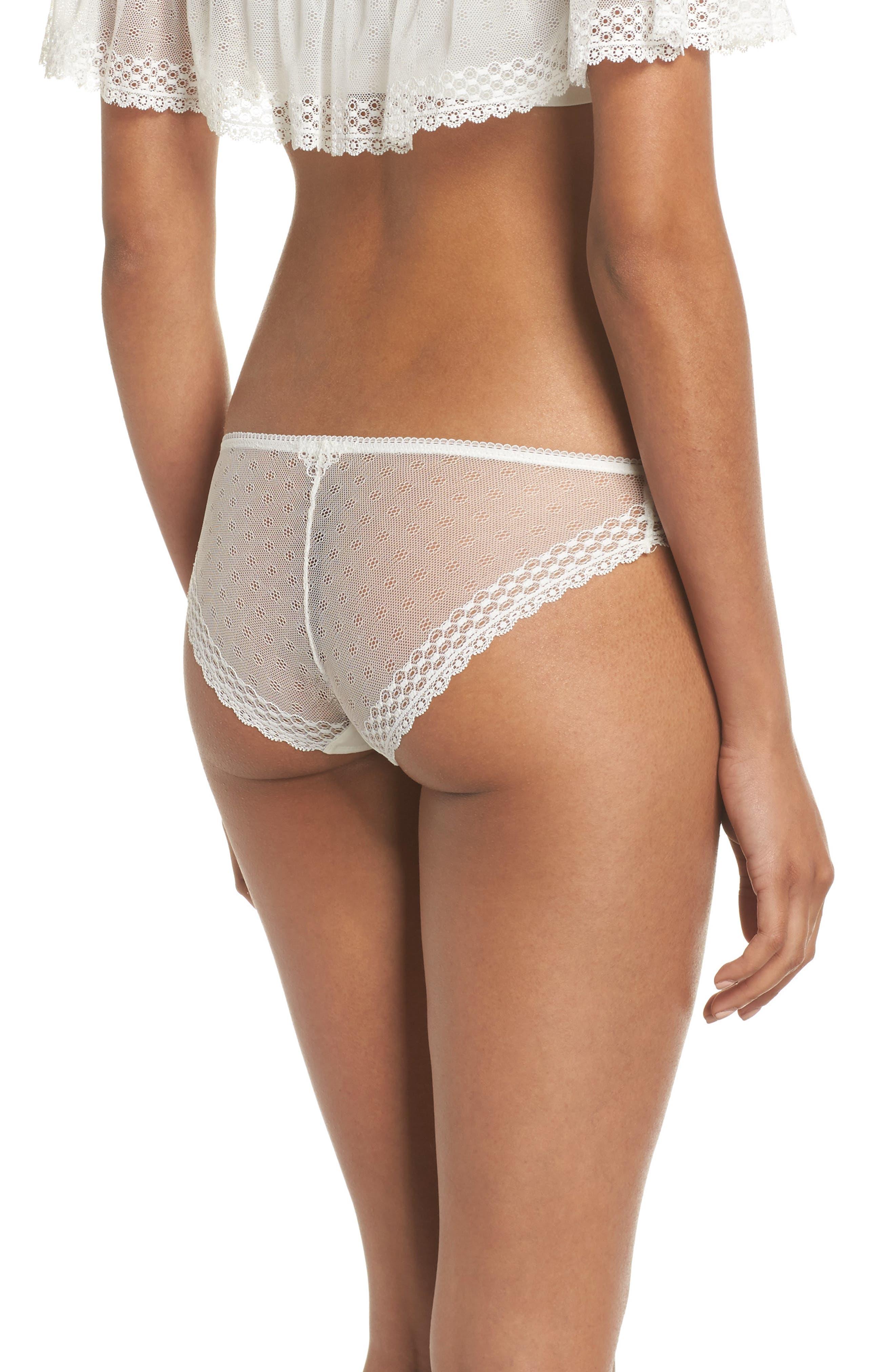 Organic Pima Cotton Blend Lace Bikini,                             Alternate thumbnail 2, color,                             White