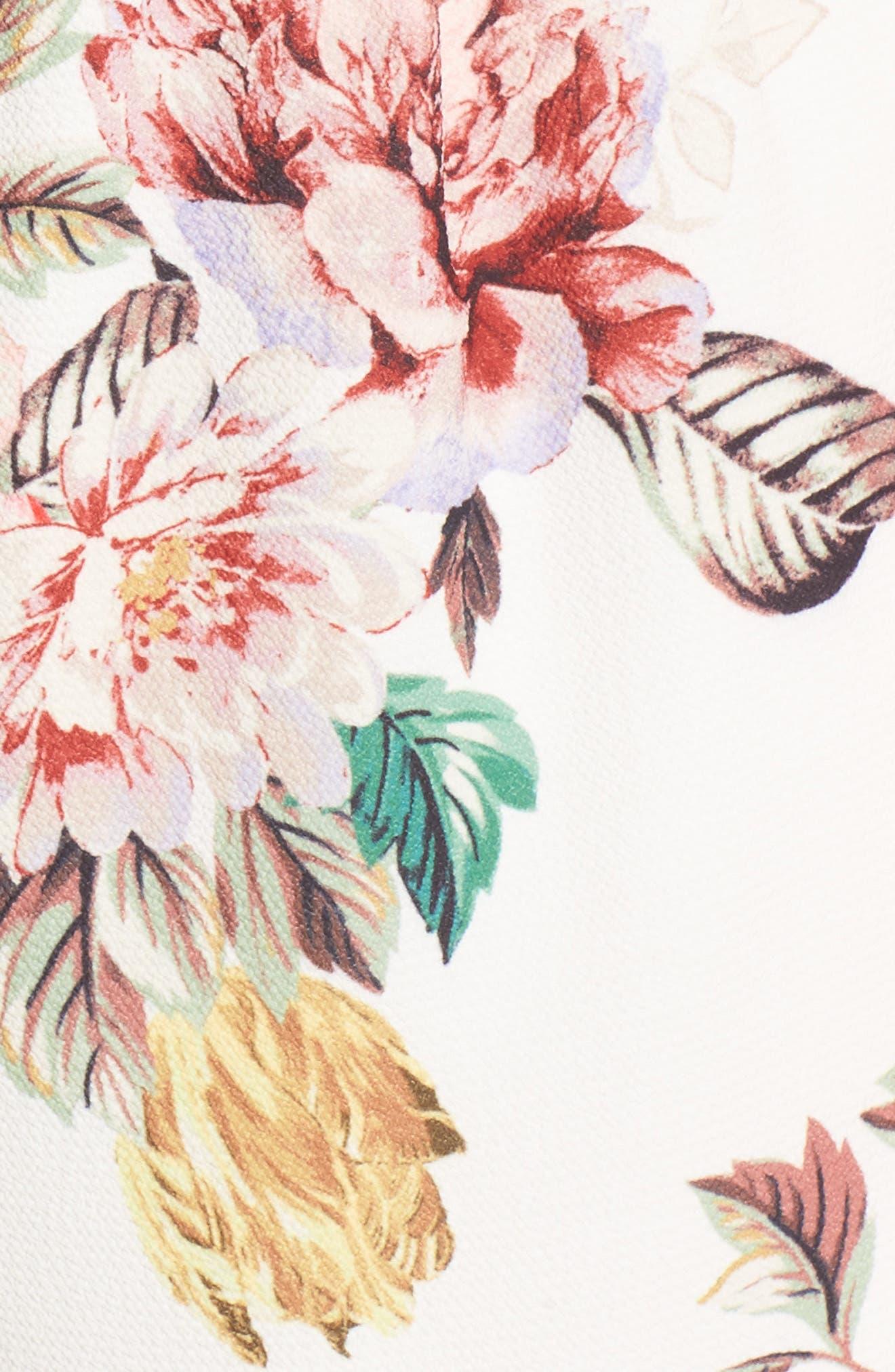 Floral Print Romper,                             Alternate thumbnail 5, color,                             Ivory Egret Vintage Floral