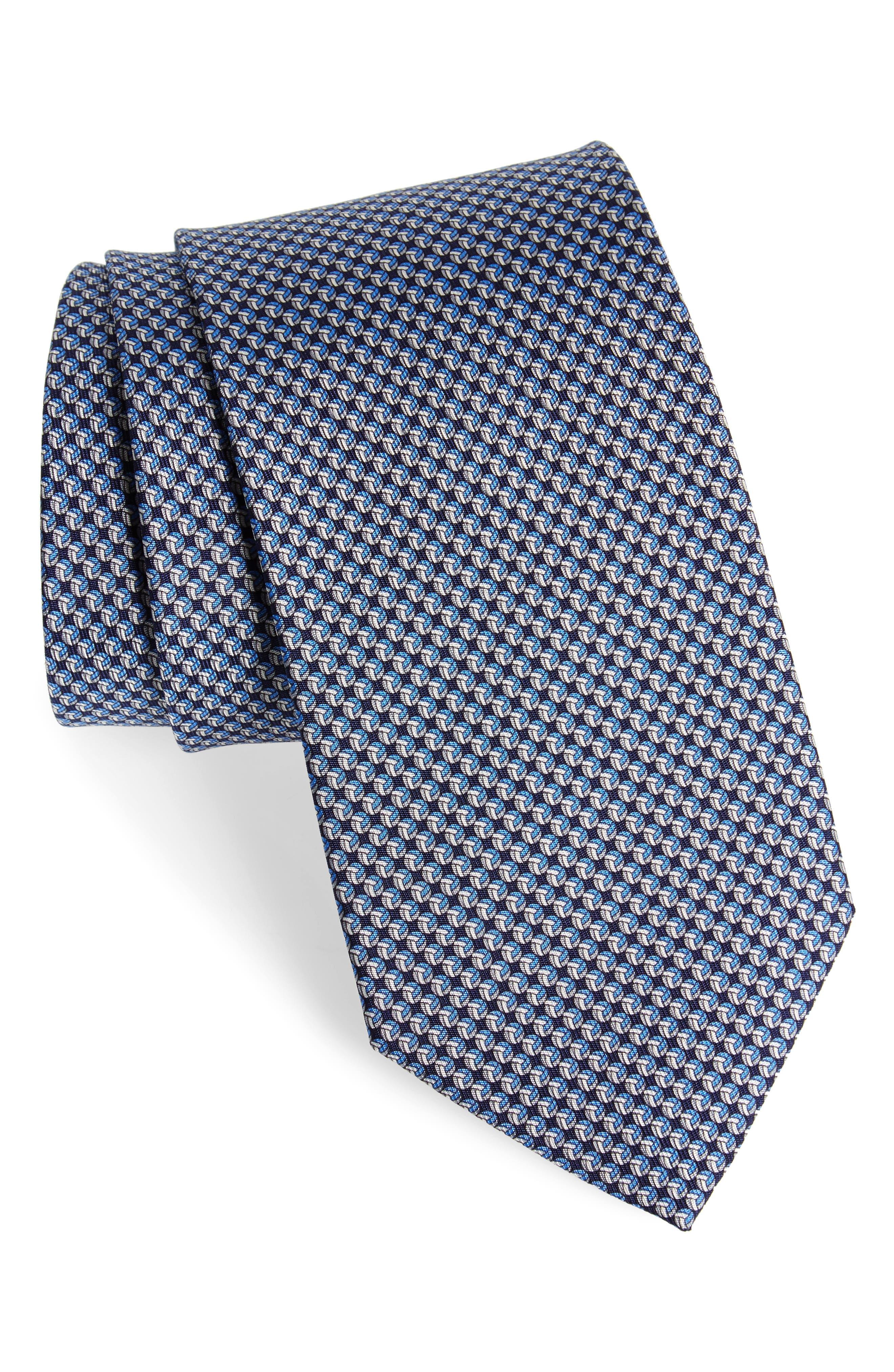 Eta Print Silk Tie,                             Main thumbnail 1, color,                             Navy