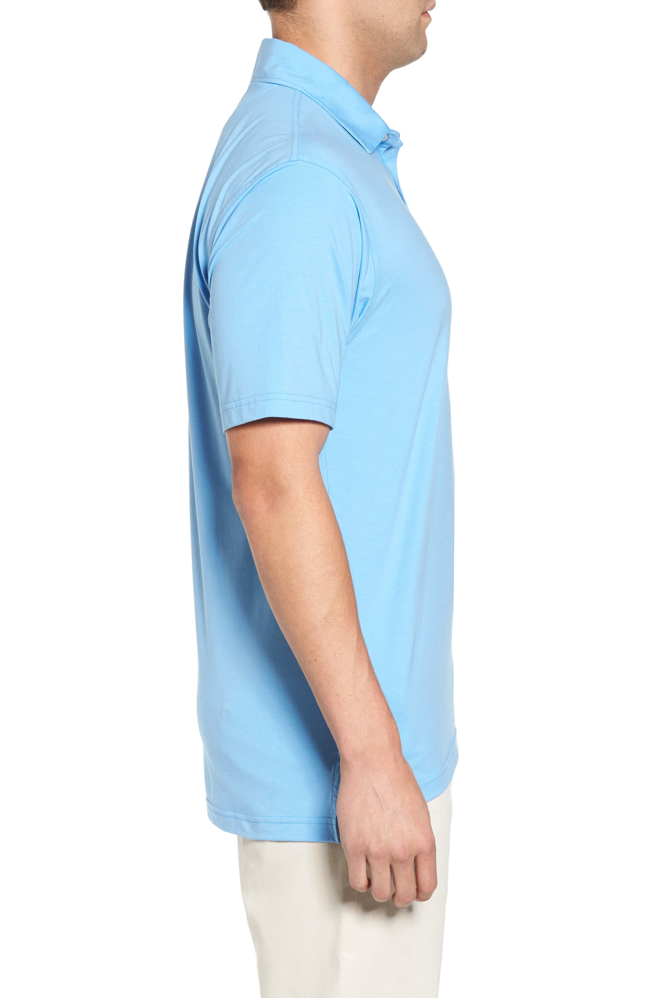 Liquid Cotton Stretch Jersey Polo,                             Alternate thumbnail 3, color,                             Sky Blue