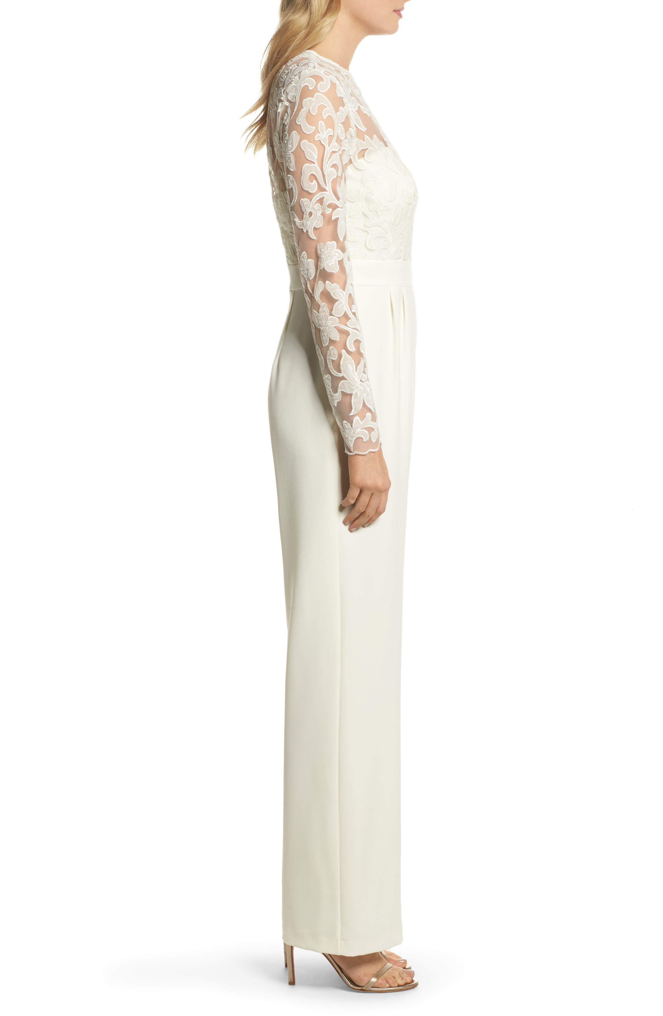 Embroidered Bodice Wide Leg Jumpsuit,                             Alternate thumbnail 3, color,                             Ivory