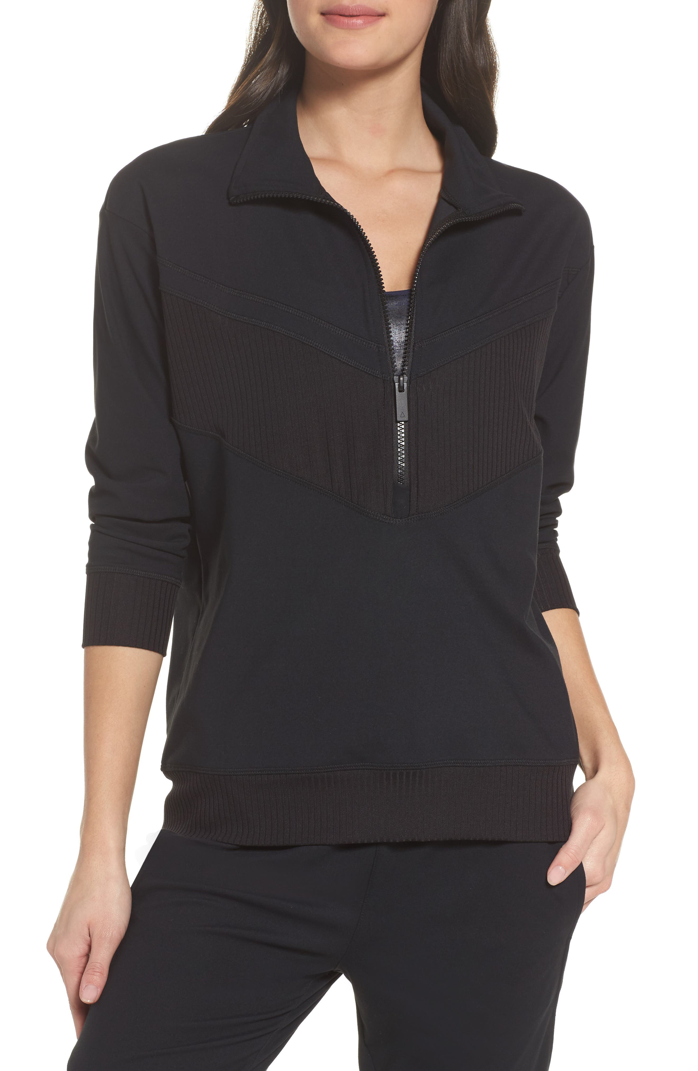Cato Quarter Zip Pullover,                             Main thumbnail 1, color,                             Black