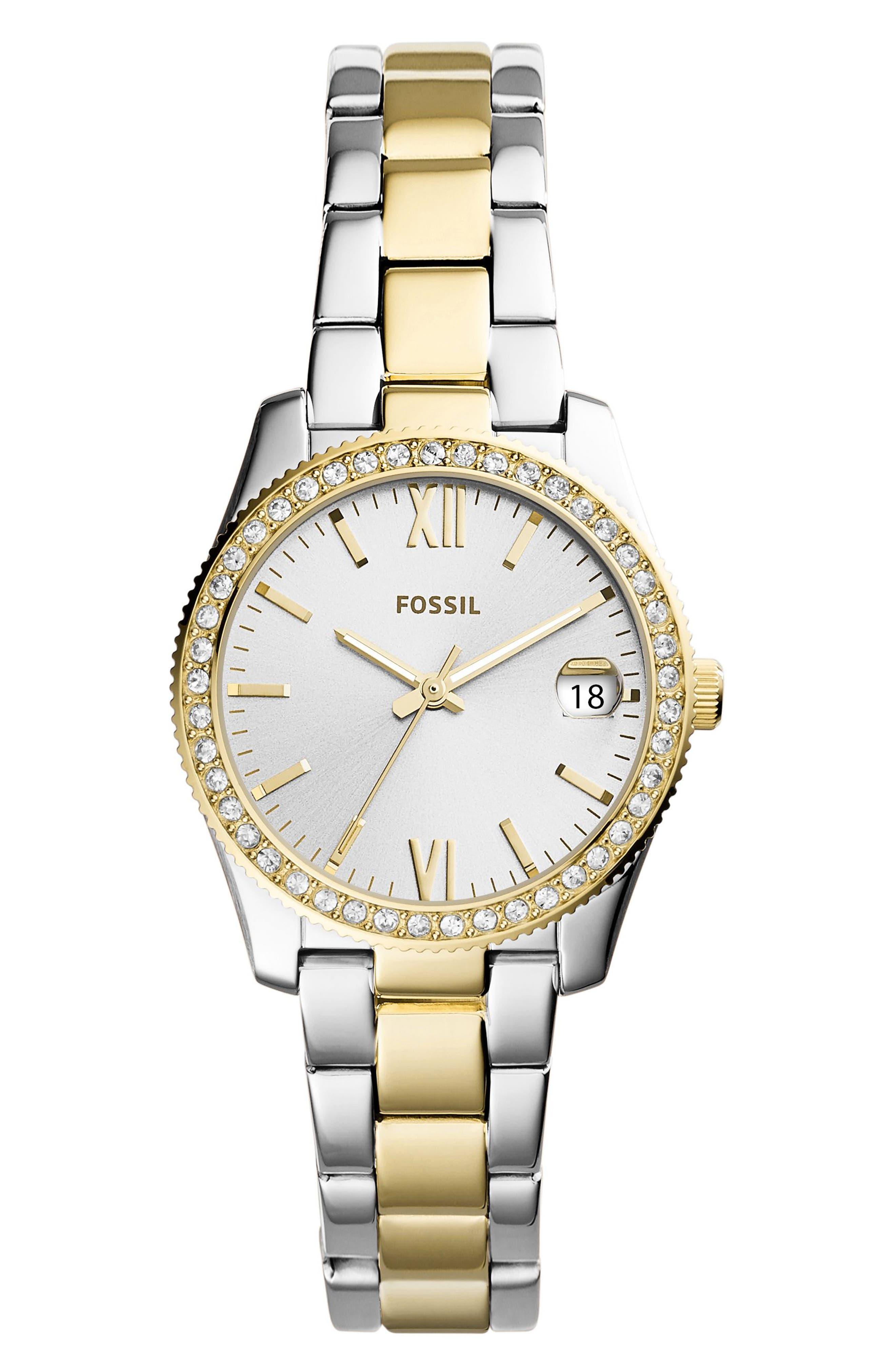 Scarlette Crystal Bracelet Watch, 32mm,                         Main,                         color, Silver/ Gold