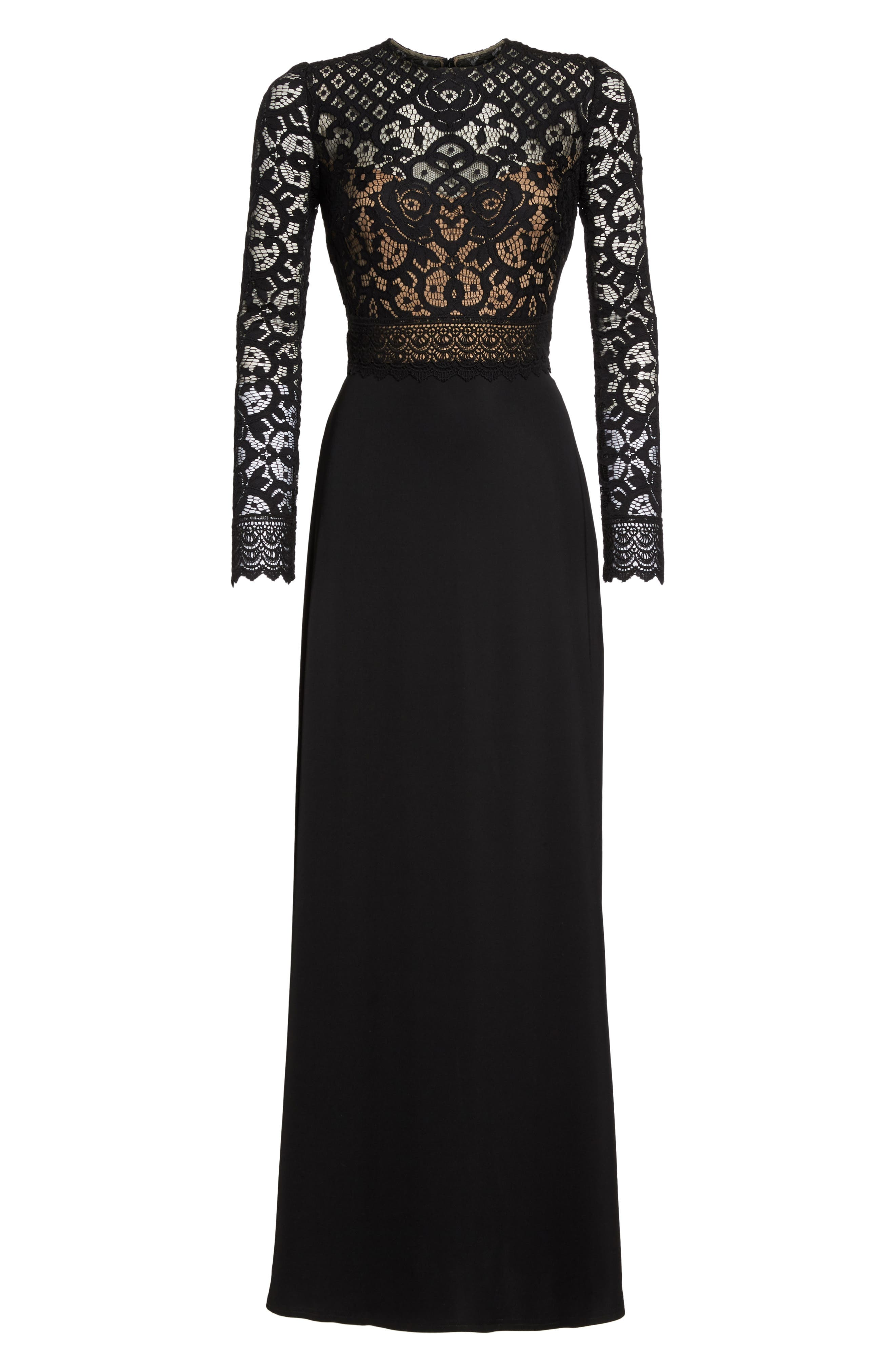 Lace & Crepe Gown,                             Alternate thumbnail 6, color,                             Black/ Nude