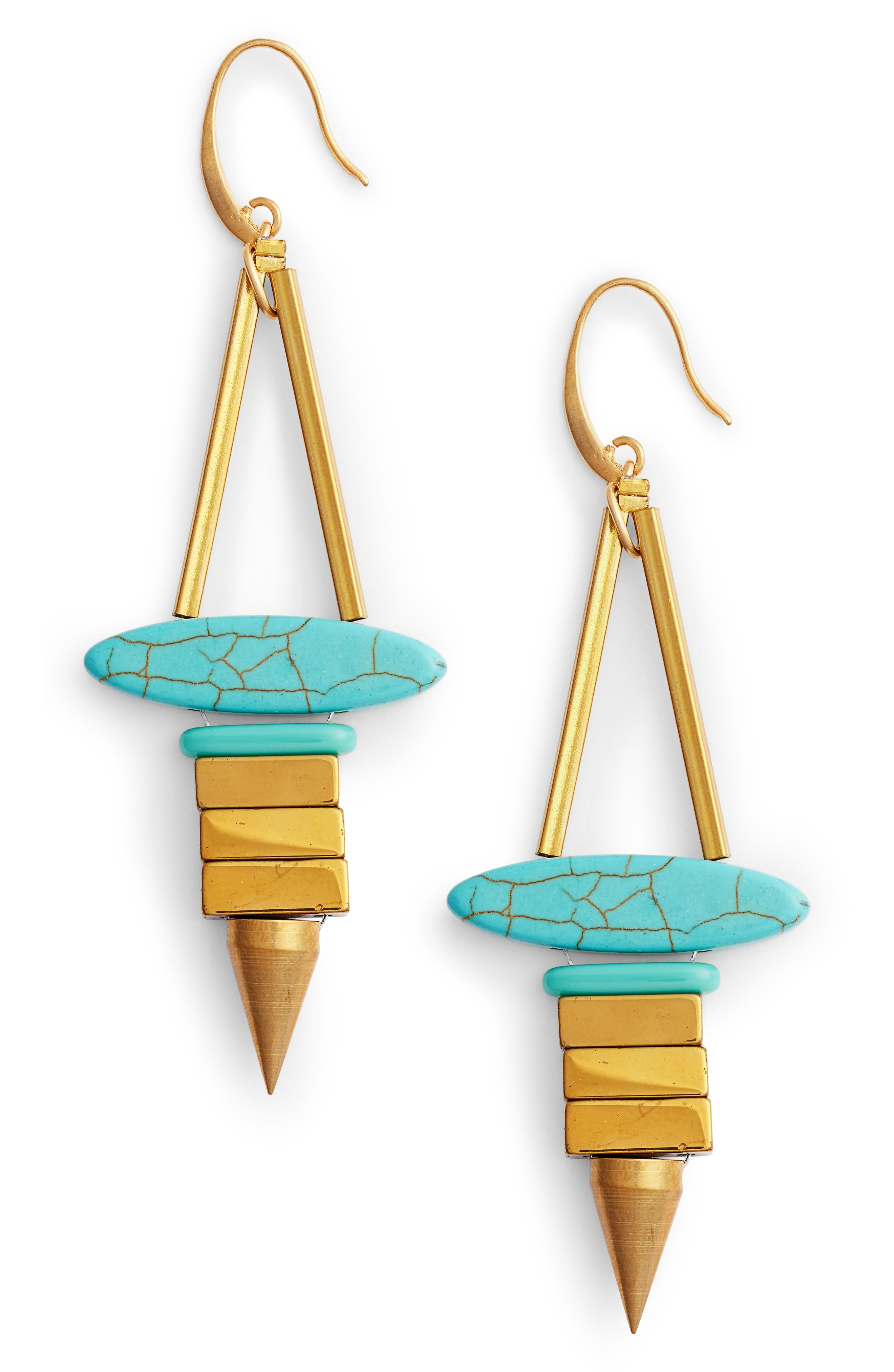 Rylee Drop Earrings,                             Main thumbnail 1, color,                             Turquoise/ Gold