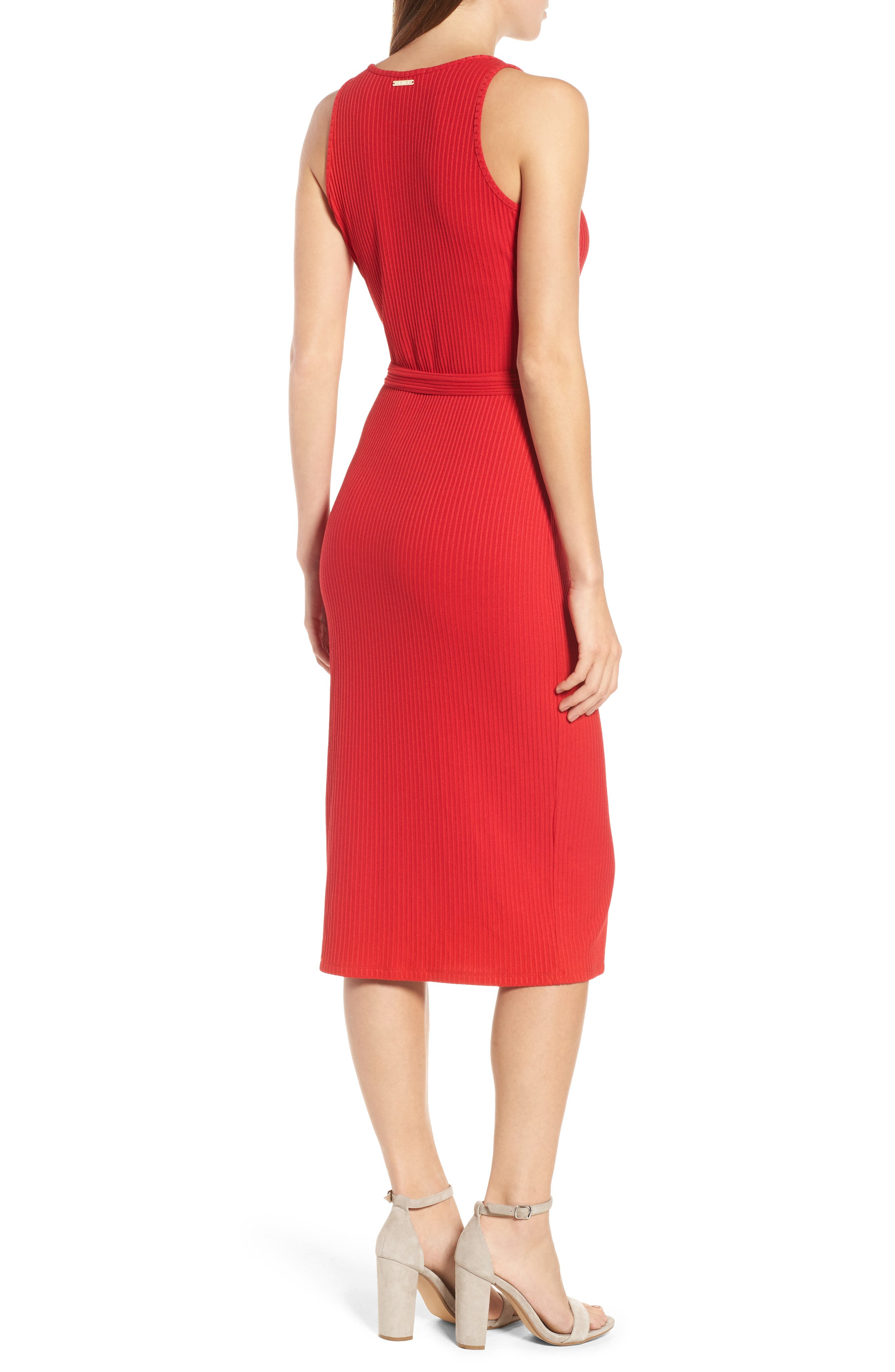 Ribbed Circle Trim Body-Con Dress,                             Alternate thumbnail 2, color,                             True Red