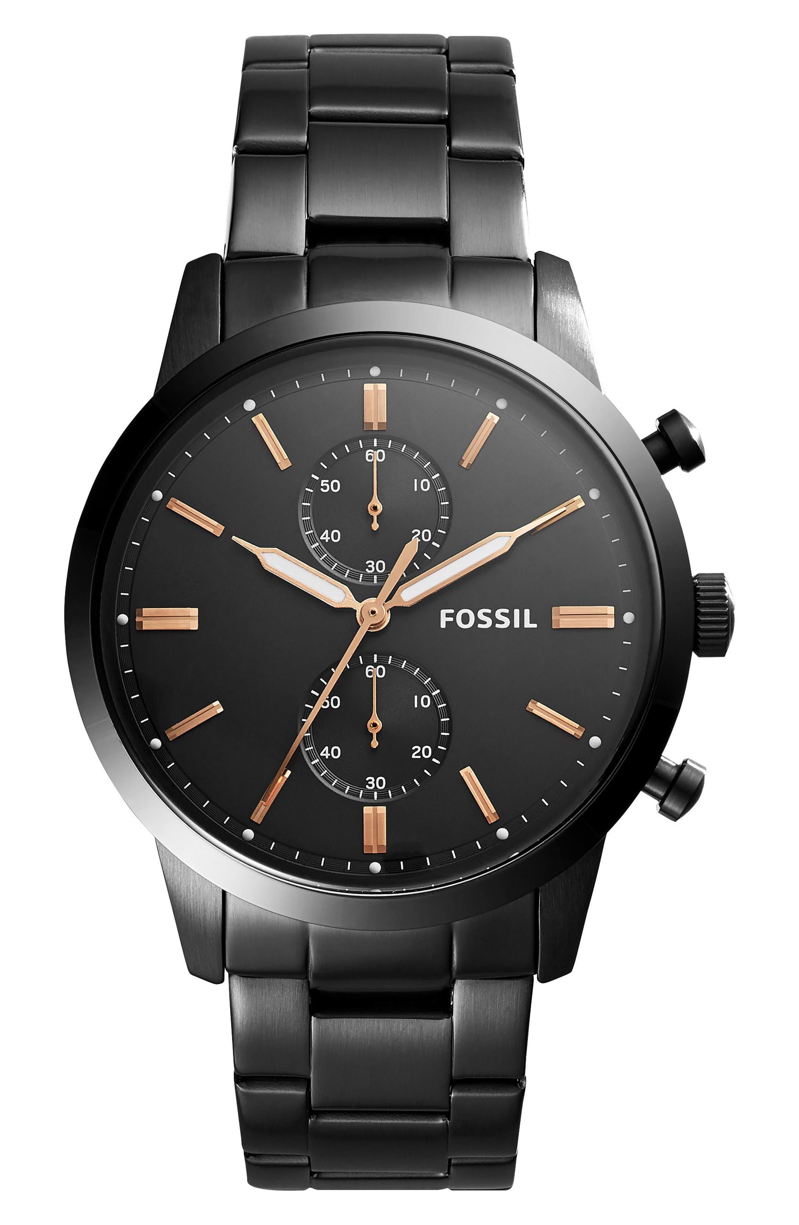 Townsman Chronograph Bracelet Watch, 44mm,                             Main thumbnail 1, color,                             Black