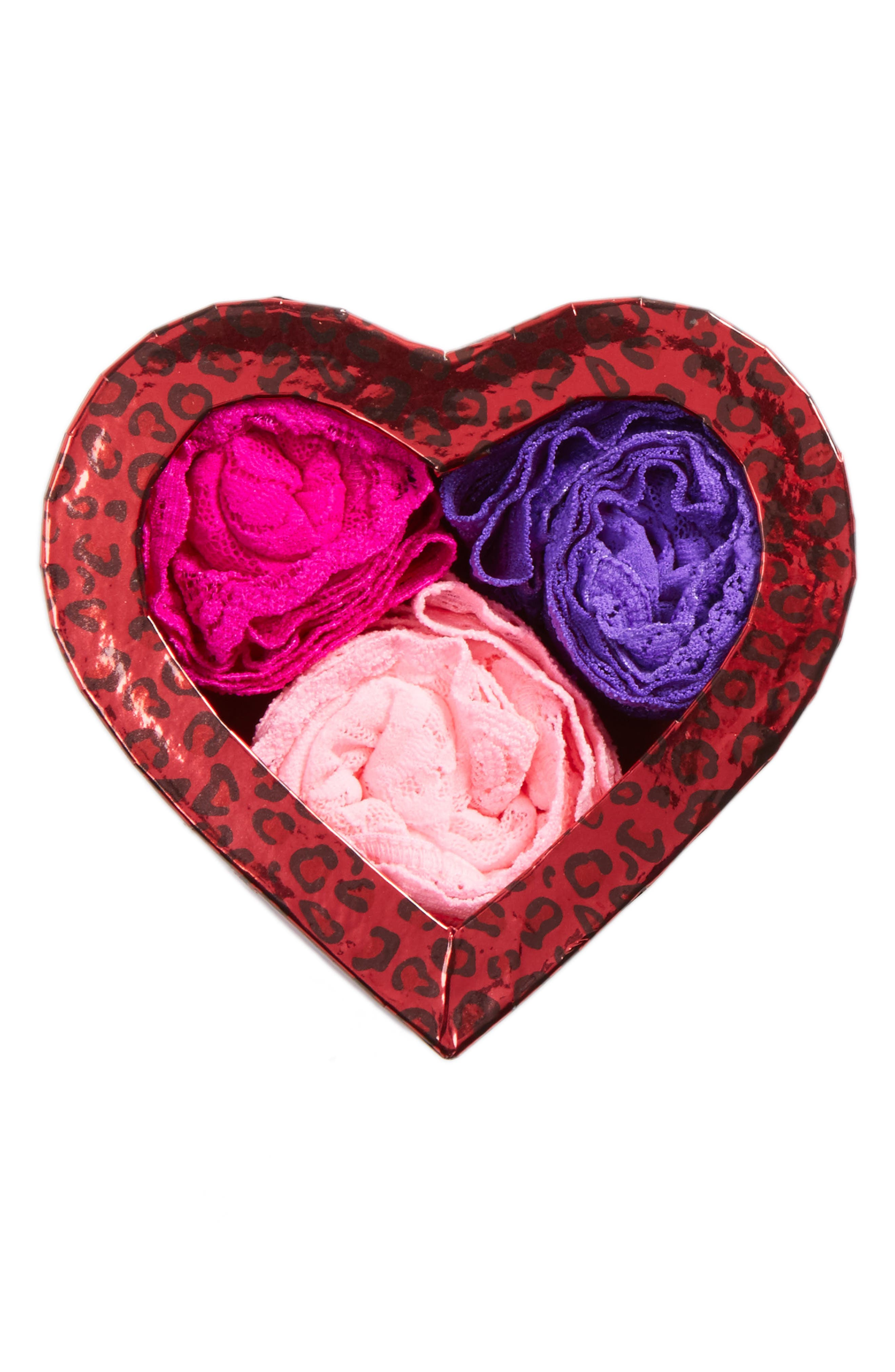 'Hugs N Kisses' Boxed Original Rise Thongs (3-Pack),                         Main,                         color, Cherry Blossom/ Royal