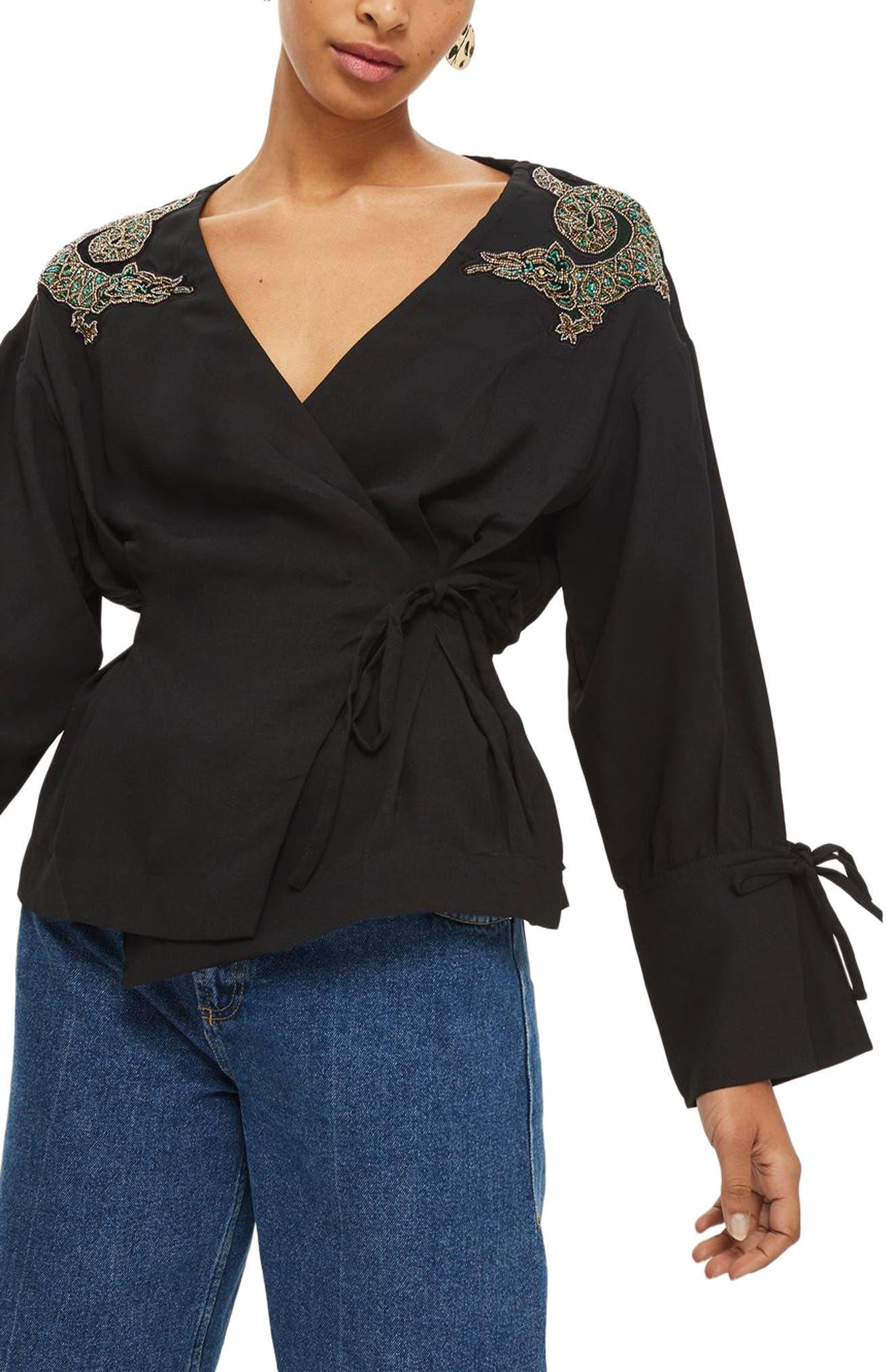 Dragon Embellished Blouse,                         Main,                         color, Black