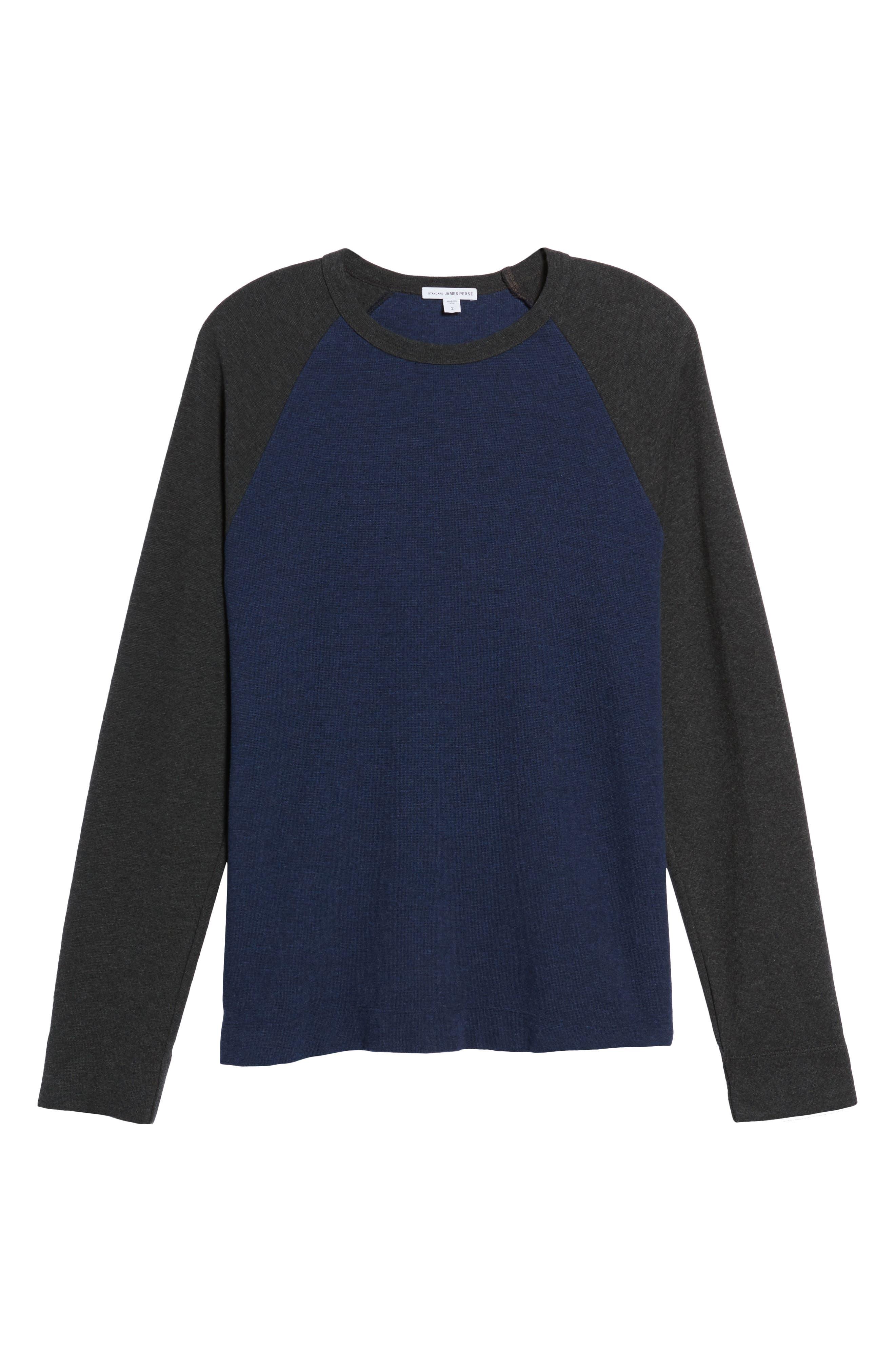Thermal Knit Raglan Sweatshirt,                             Alternate thumbnail 6, color,                             Heather Navy/ Heather Charcoal
