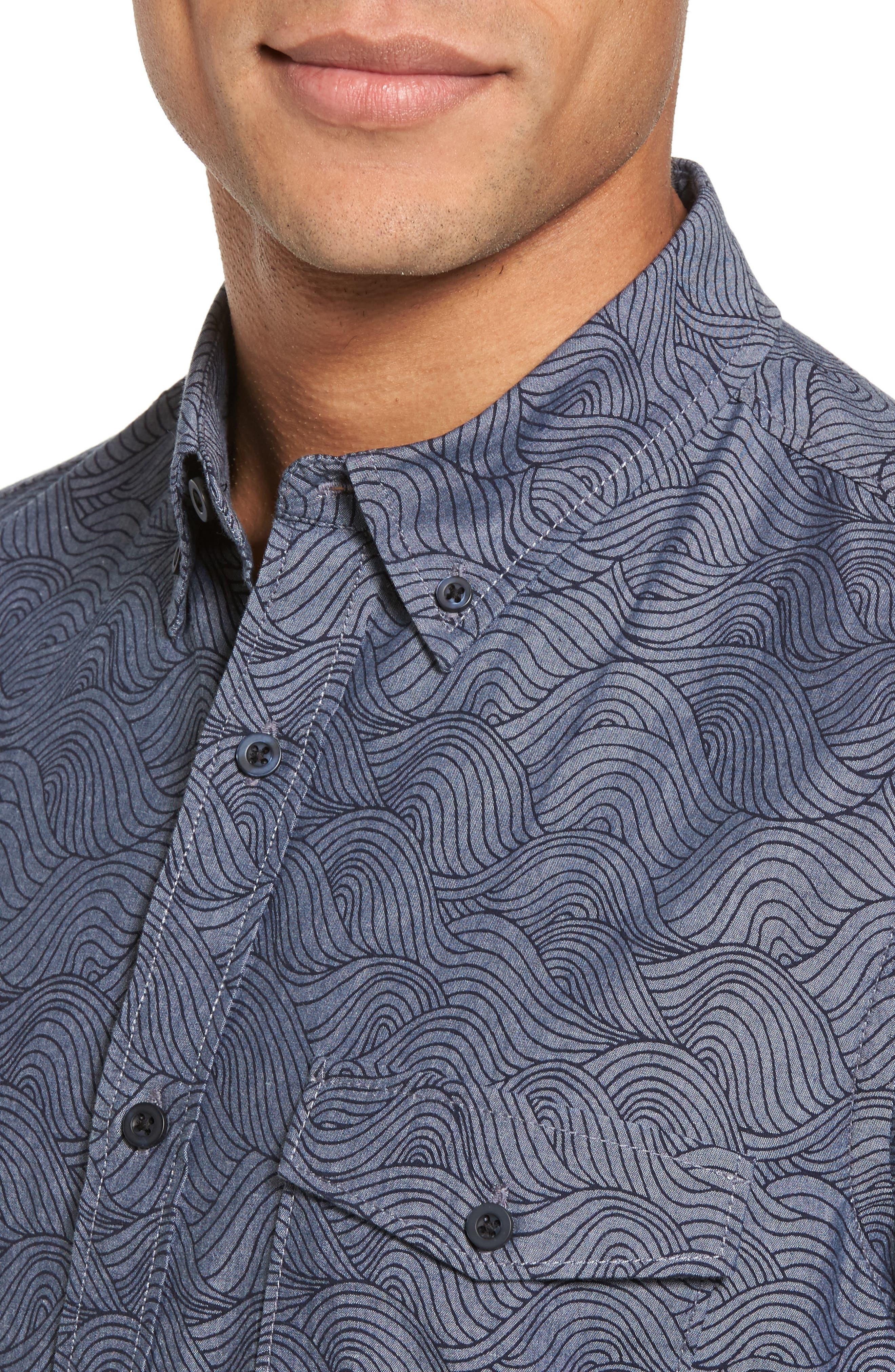 Trim Fit Ivy Print Sport Shirt,                             Alternate thumbnail 4, color,                             Grey Onyx Rolling Waves