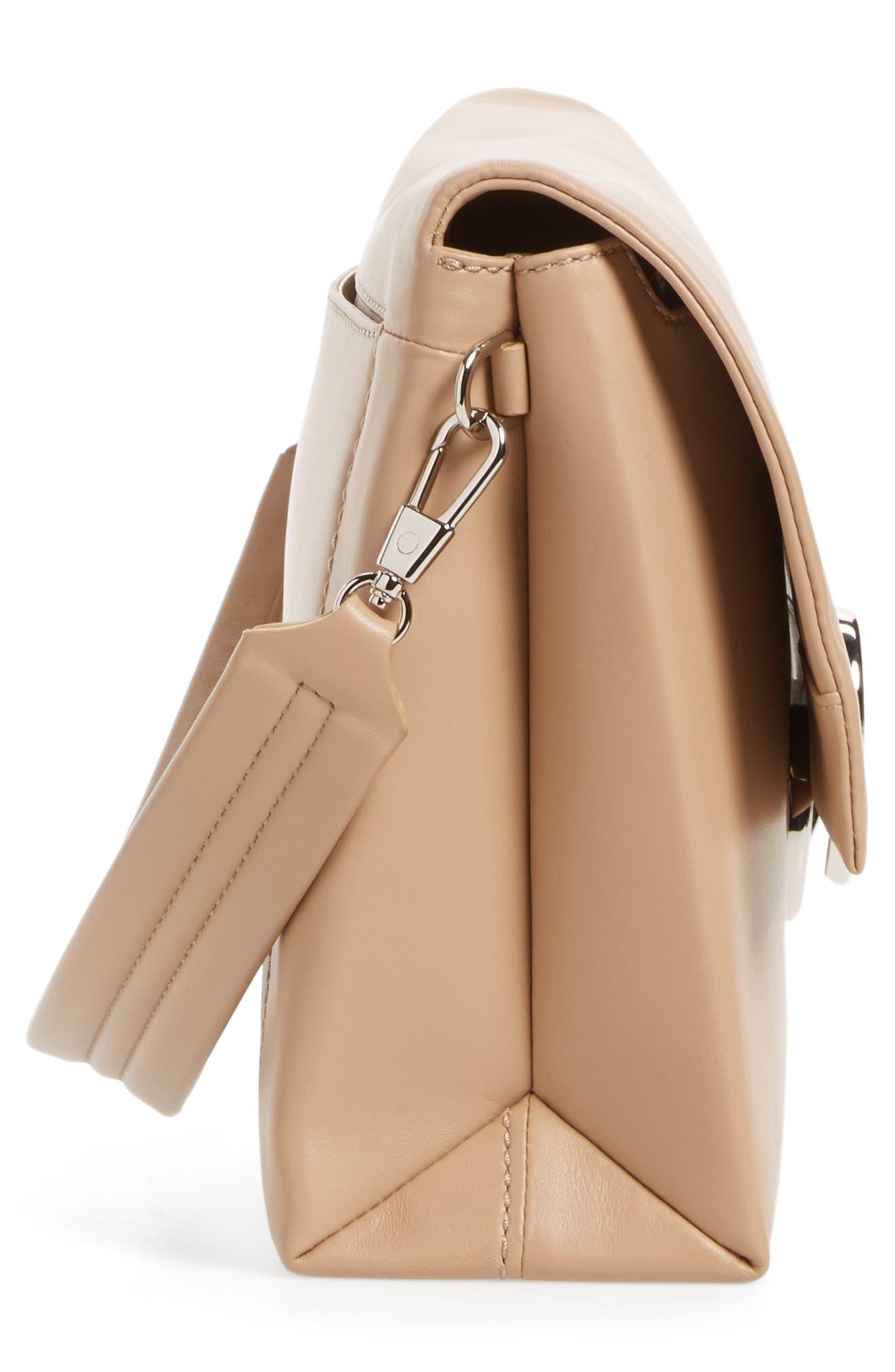 Oversized Alix Flap Leather Shoulder Bag,                             Alternate thumbnail 5, color,                             Fawn
