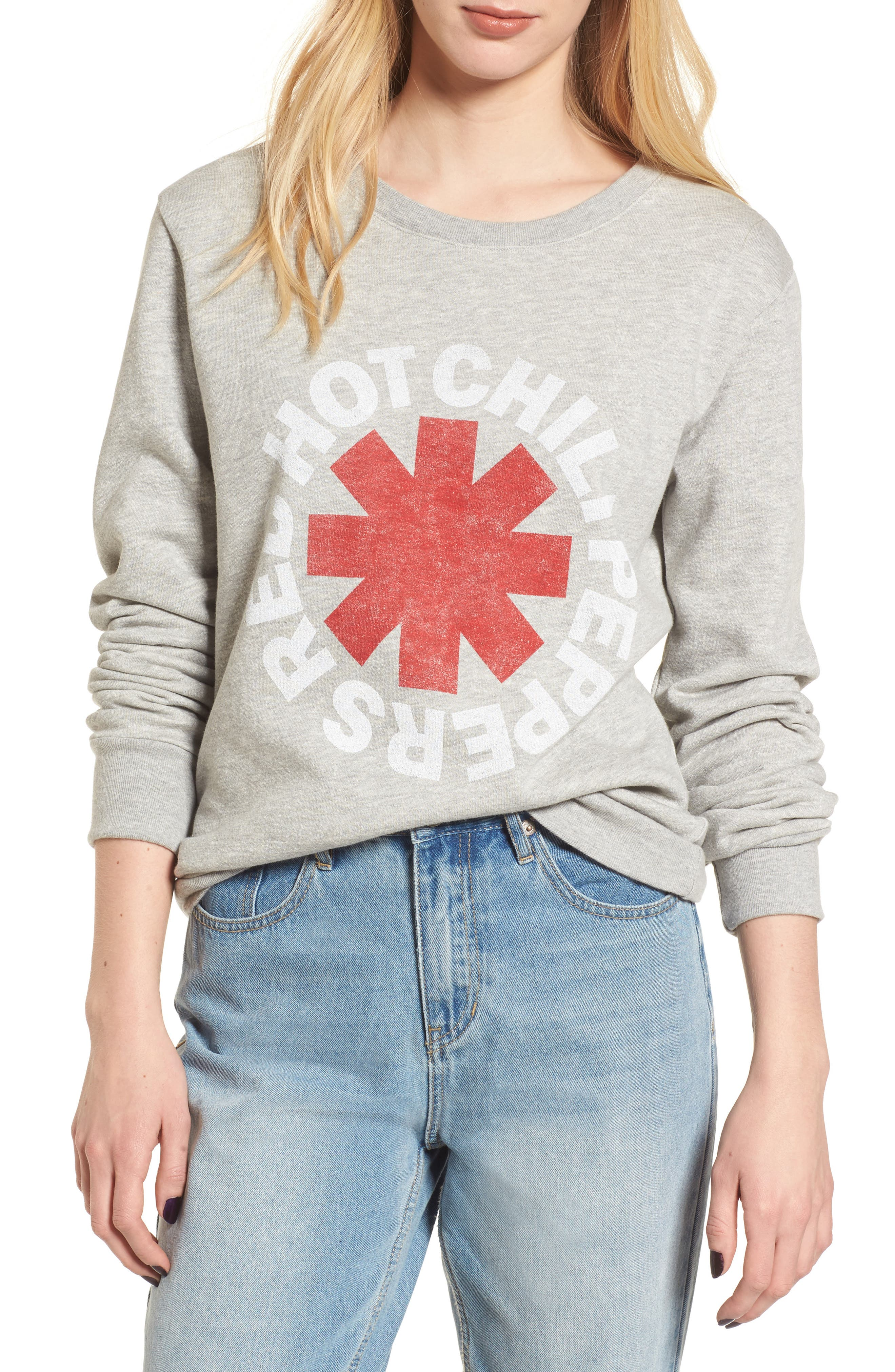 Red Hot Chili Peppers Sweatshirt,                             Main thumbnail 1, color,                             Heather Grey