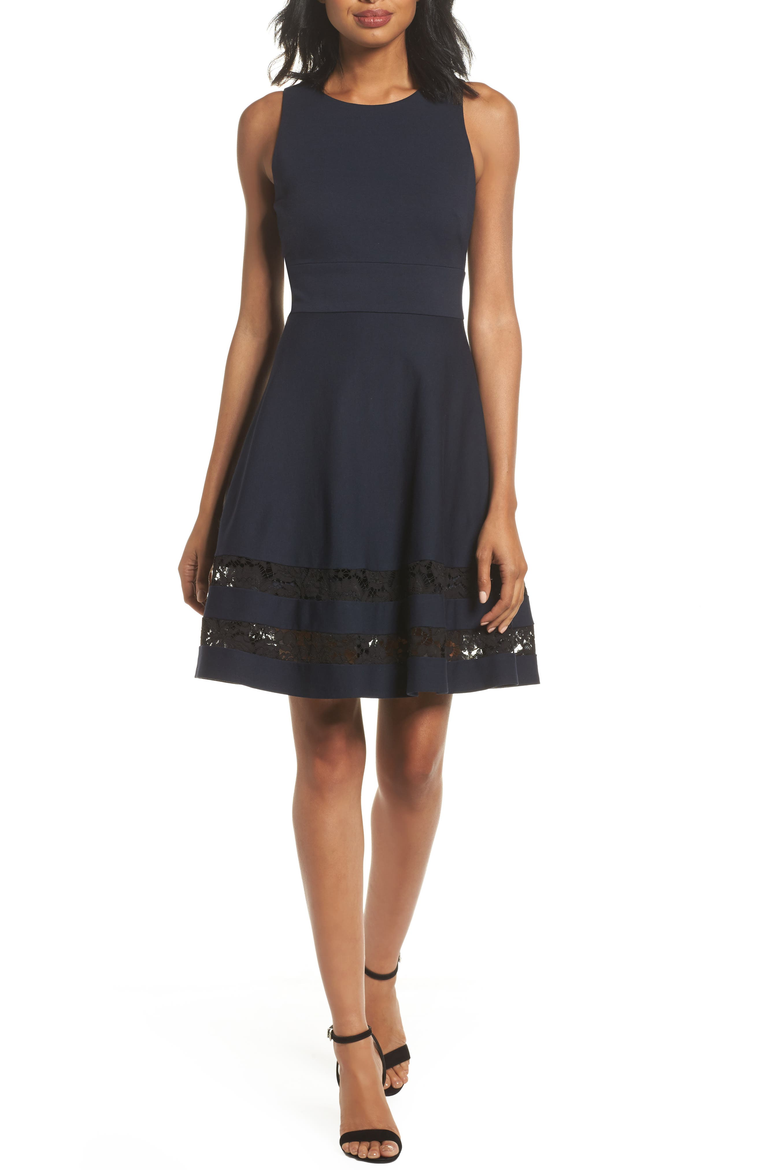 Fit & Flare Dress,                         Main,                         color, Navy