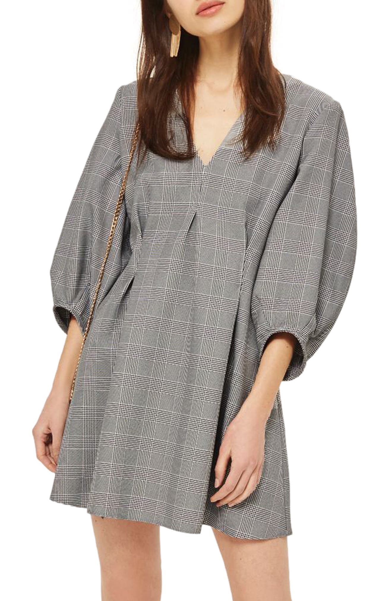 Alternate Image 1 Selected - Topshop Checkered Balloon Sleeve Minidress
