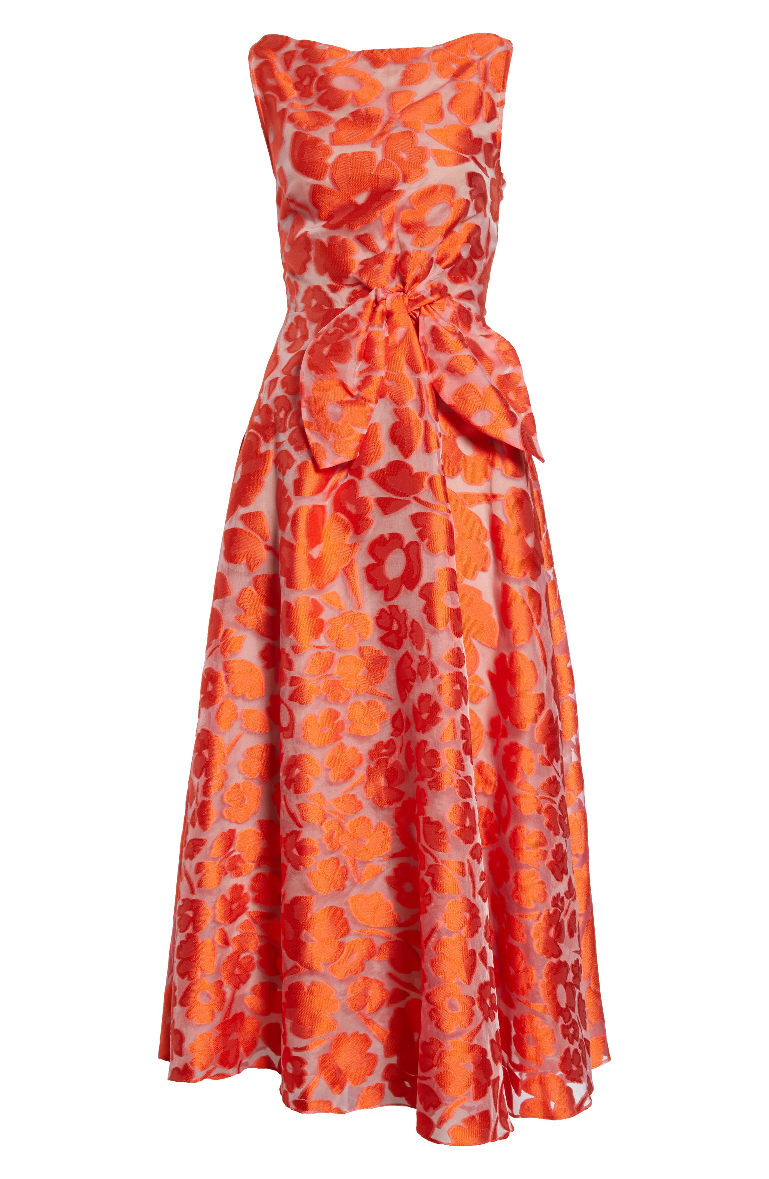 Bow Waist Tea Length Dress,                             Alternate thumbnail 8, color,                             Vermillion