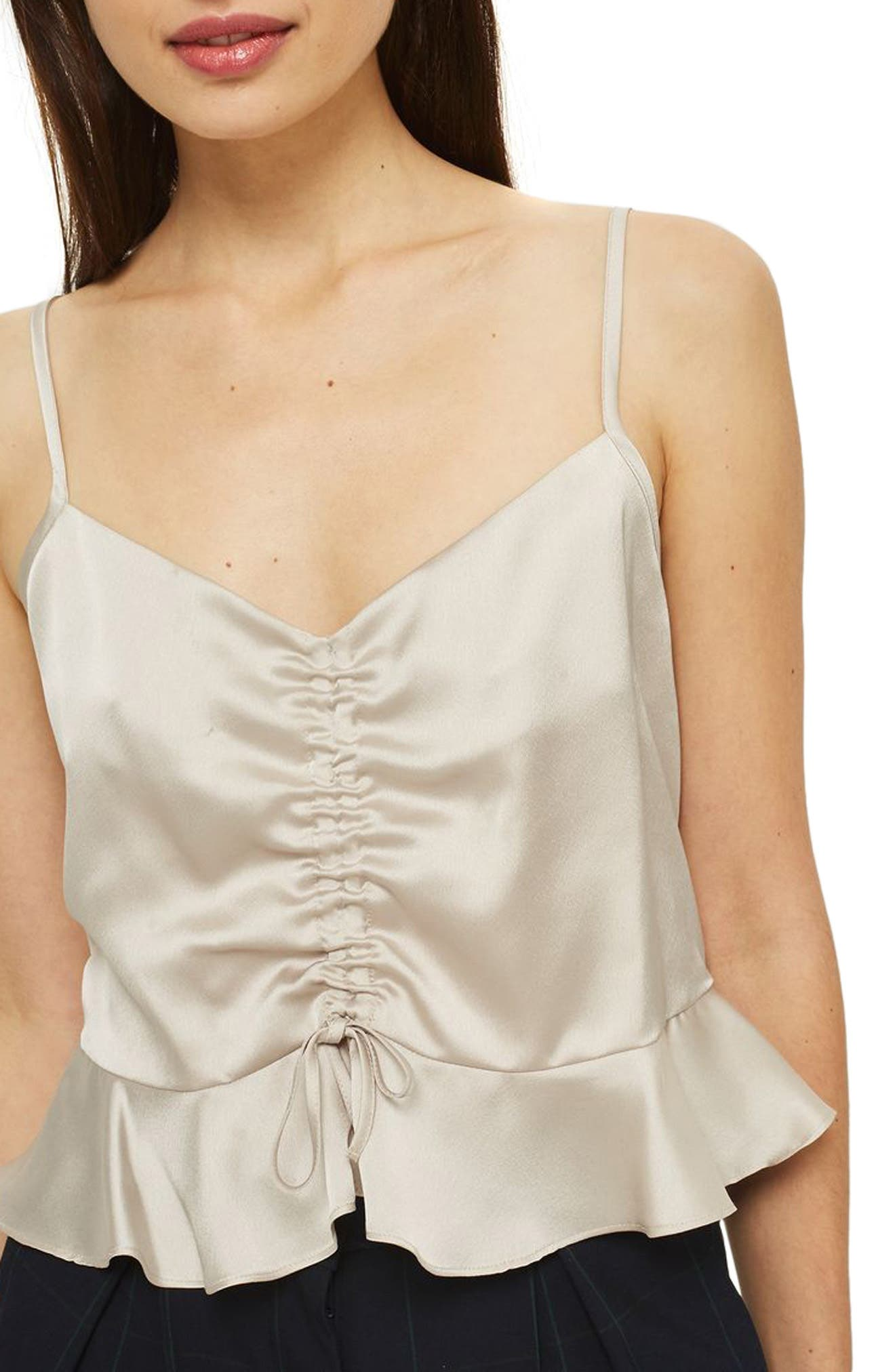 Ruby Ruched Satin Camisole Top,                             Main thumbnail 1, color,                             Cream