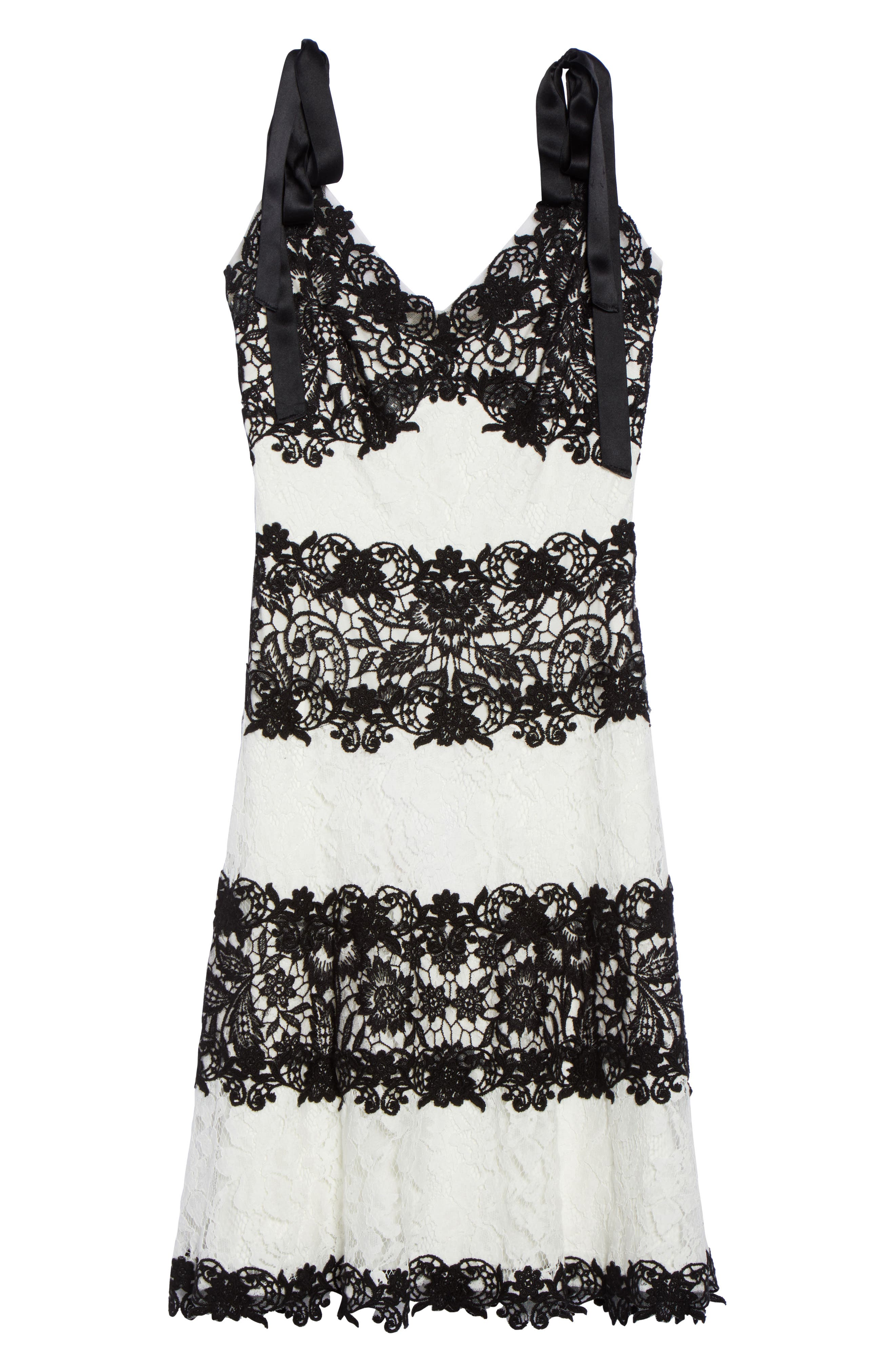 Sleeveless Lace Dress,                             Alternate thumbnail 6, color,                             Black/ Ivory