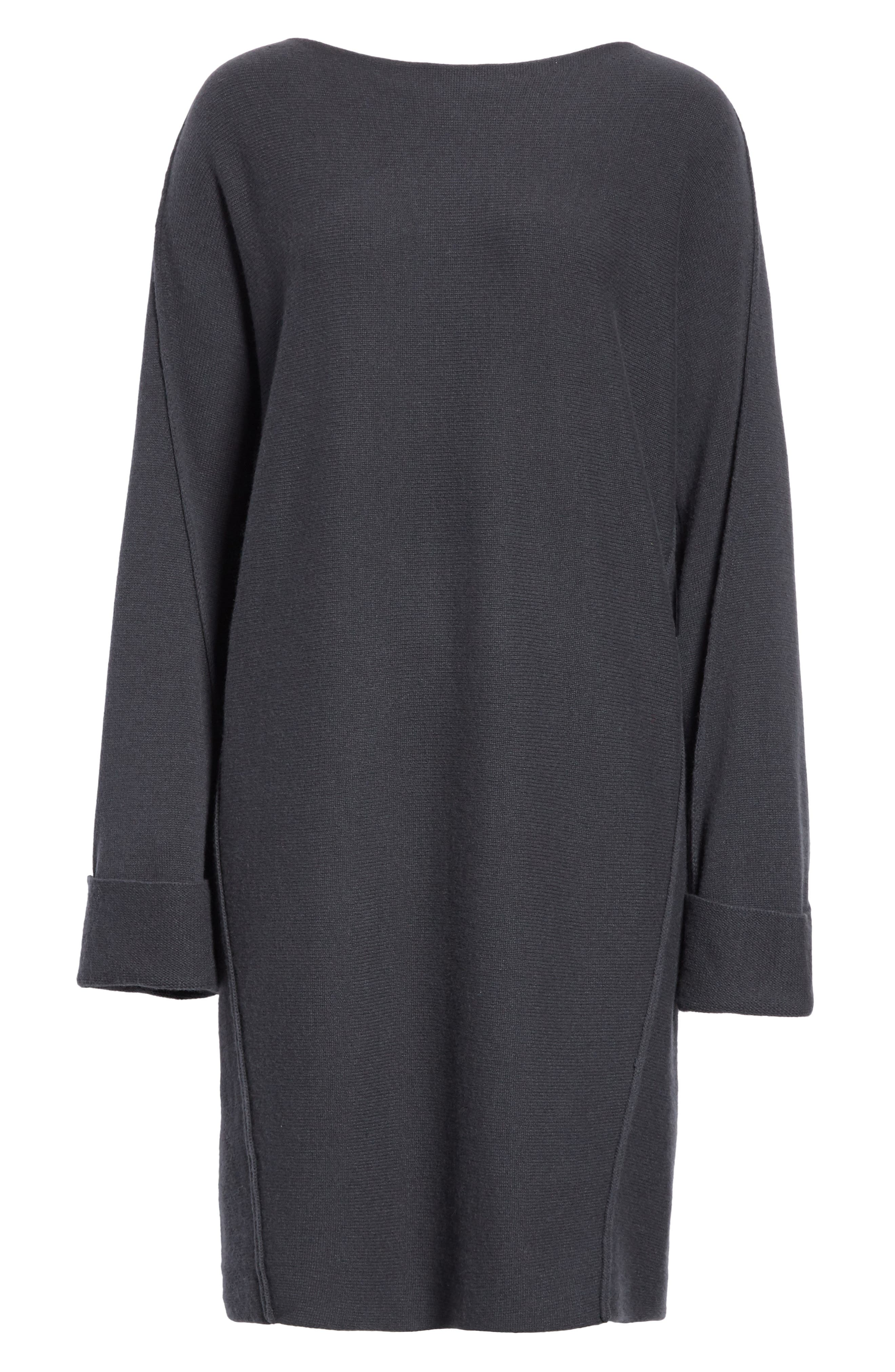 Twisted Seam Wool & Cashmere Sweater Dress,                             Alternate thumbnail 6, color,                             Slate