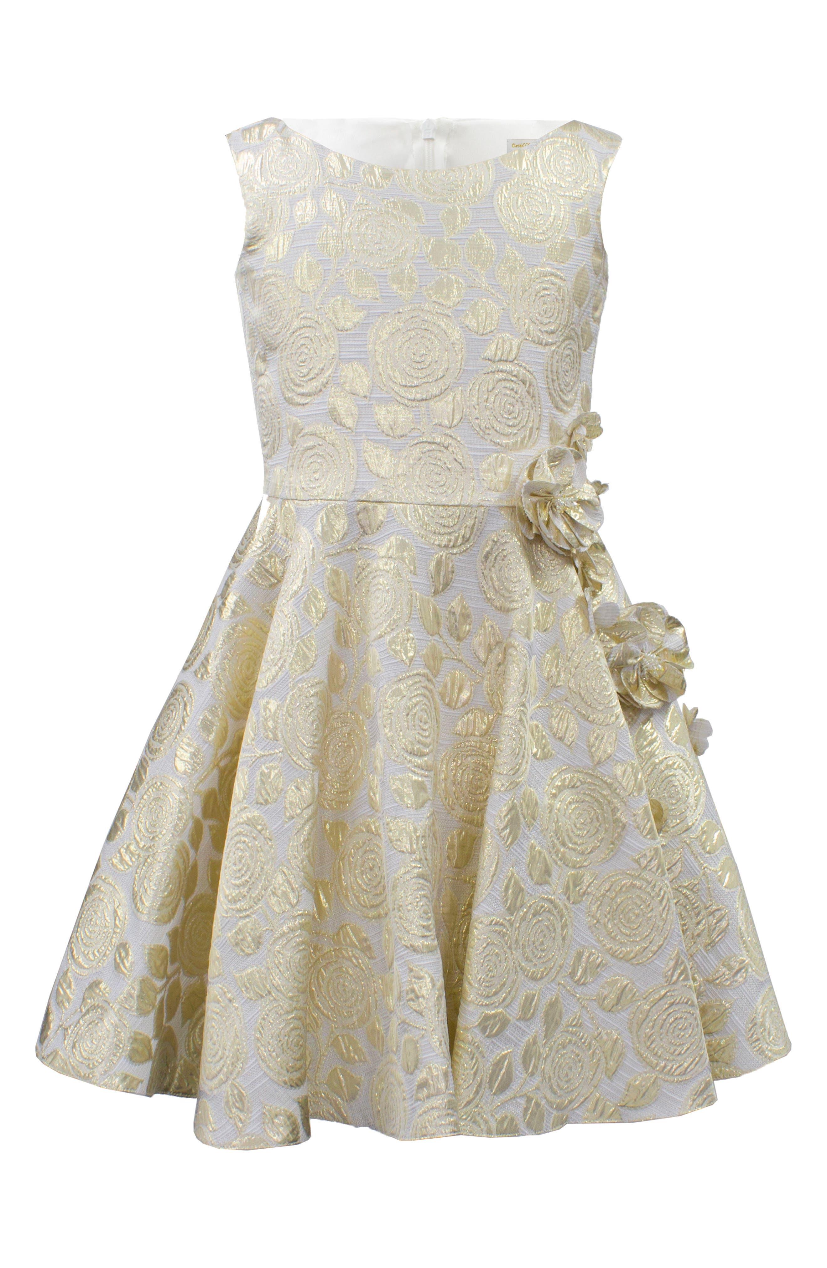 Metallic Floral Brocade Dress,                         Main,                         color, Gold
