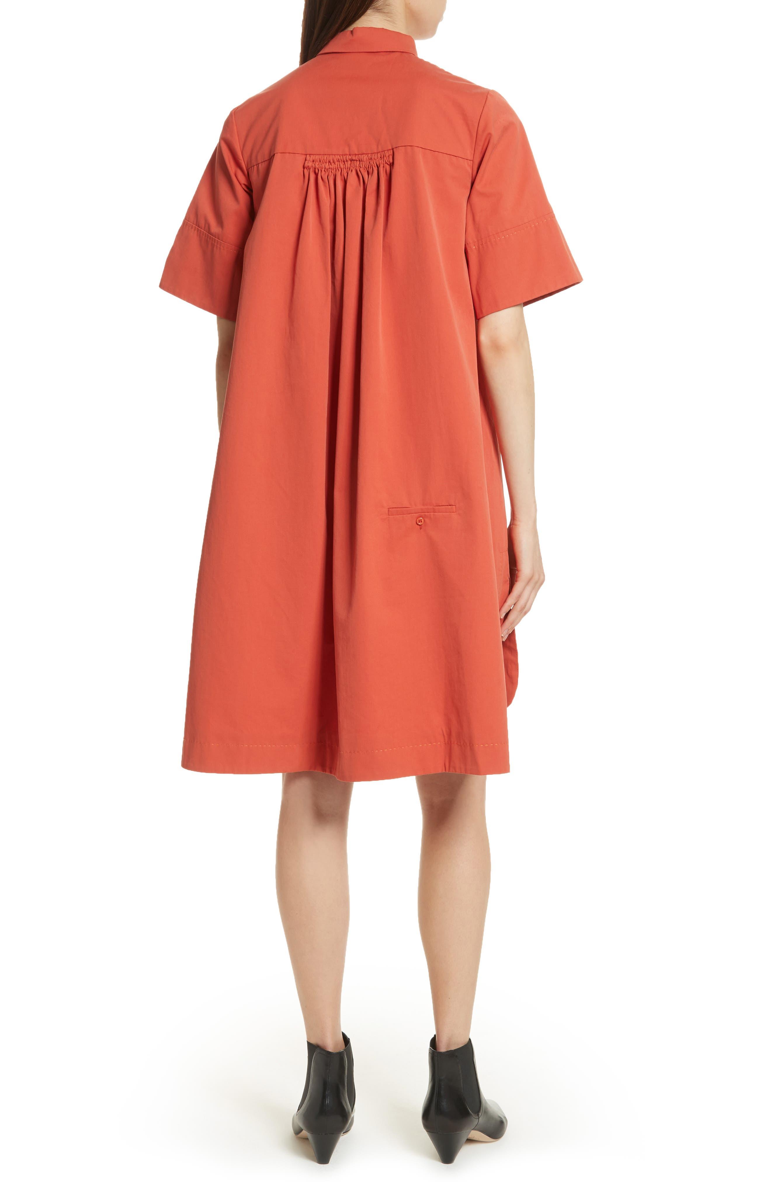 Cotton Poplin Shirtdress,                             Alternate thumbnail 2, color,                             Rust