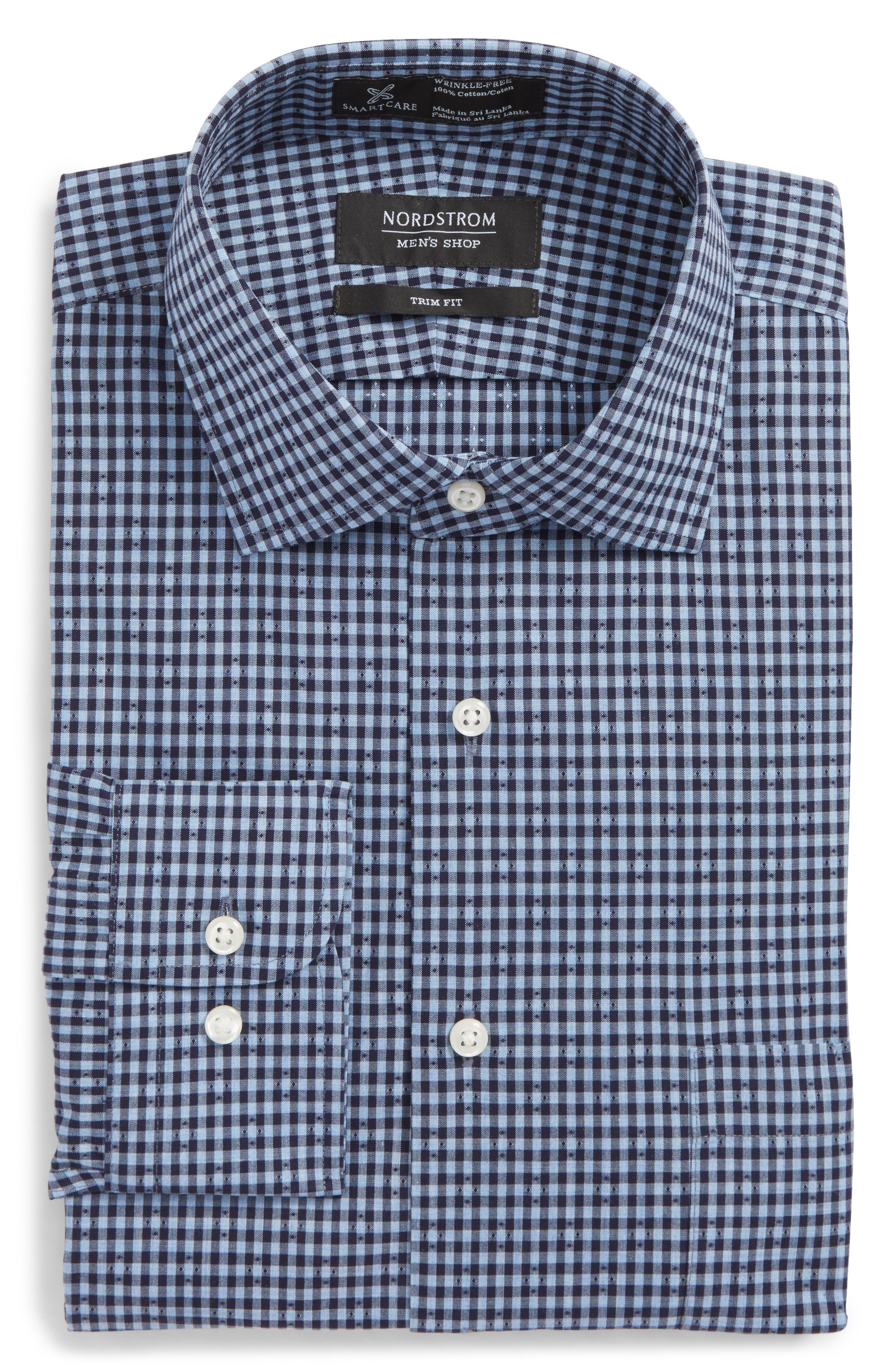 Smartcare<sup>™</sup> Trim Fit Check Dress Shirt,                         Main,                         color, Navy Evening