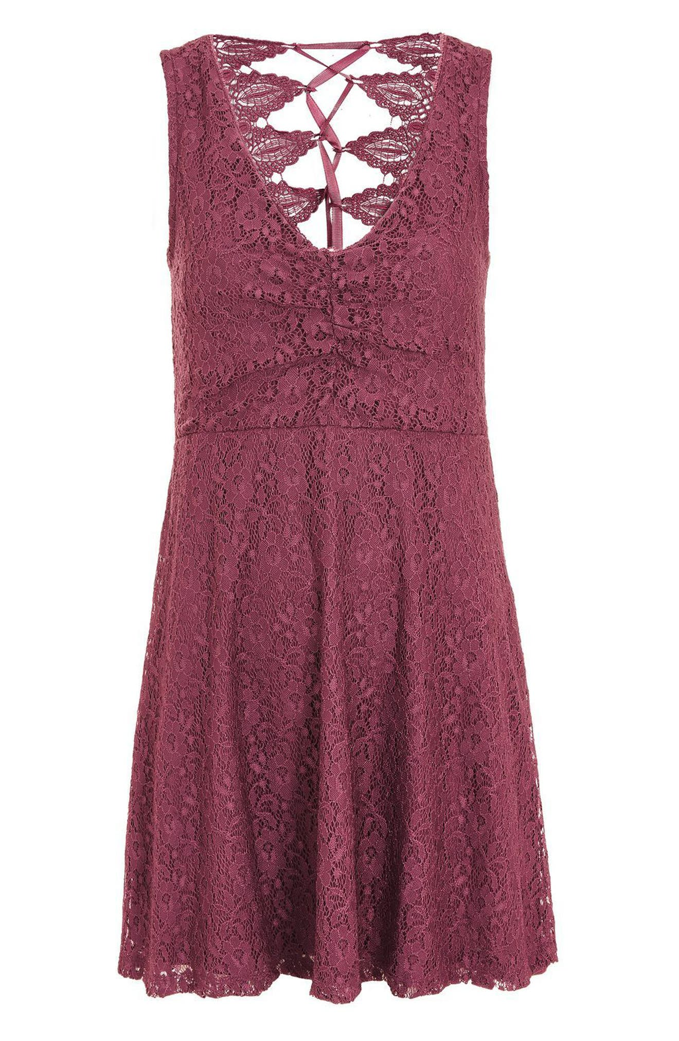 Lace-Up Lace Skater Dress,                             Alternate thumbnail 5, color,                             Purple