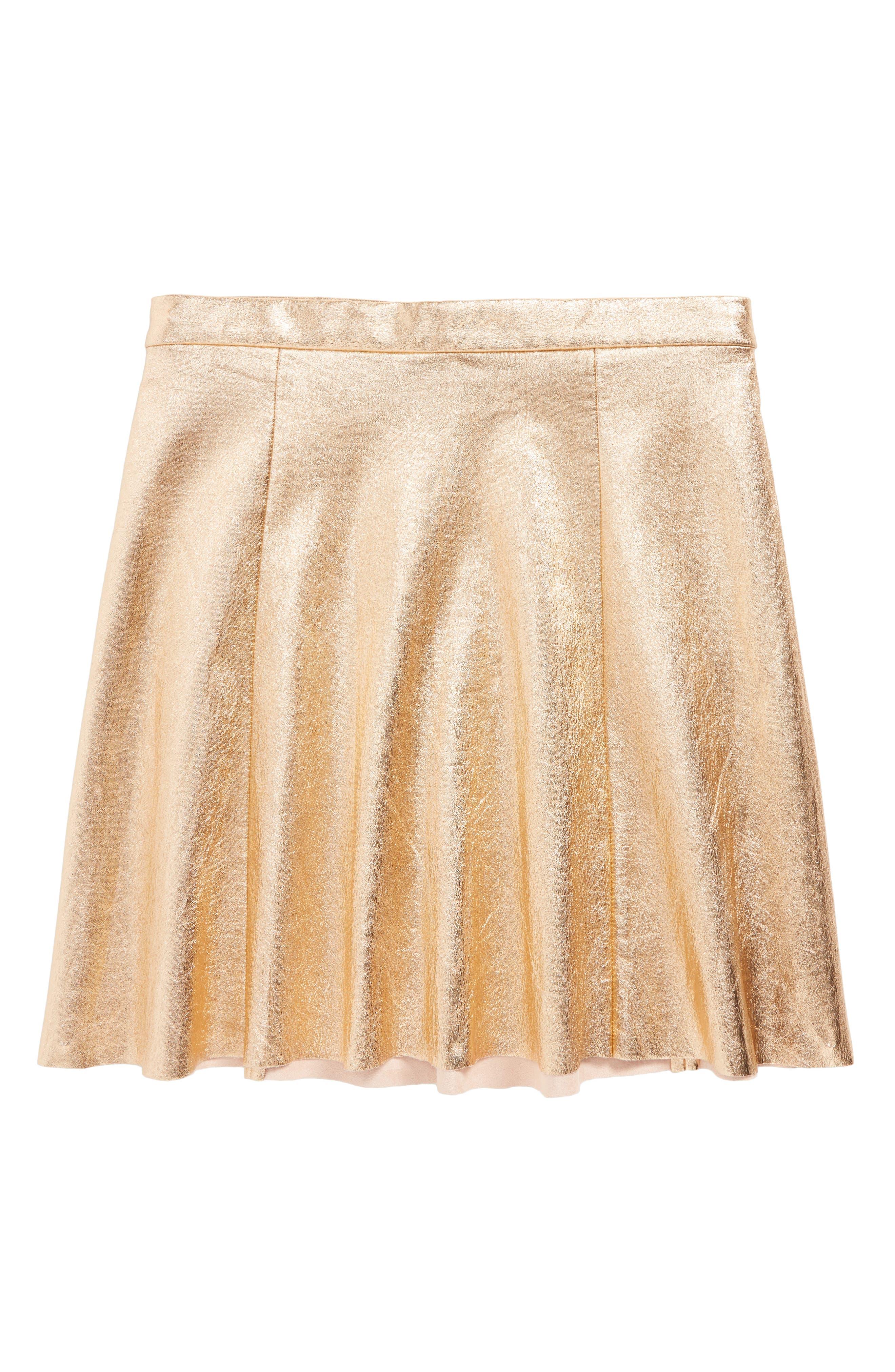 metallic skirt,                         Main,                         color, Rose Gold Pink