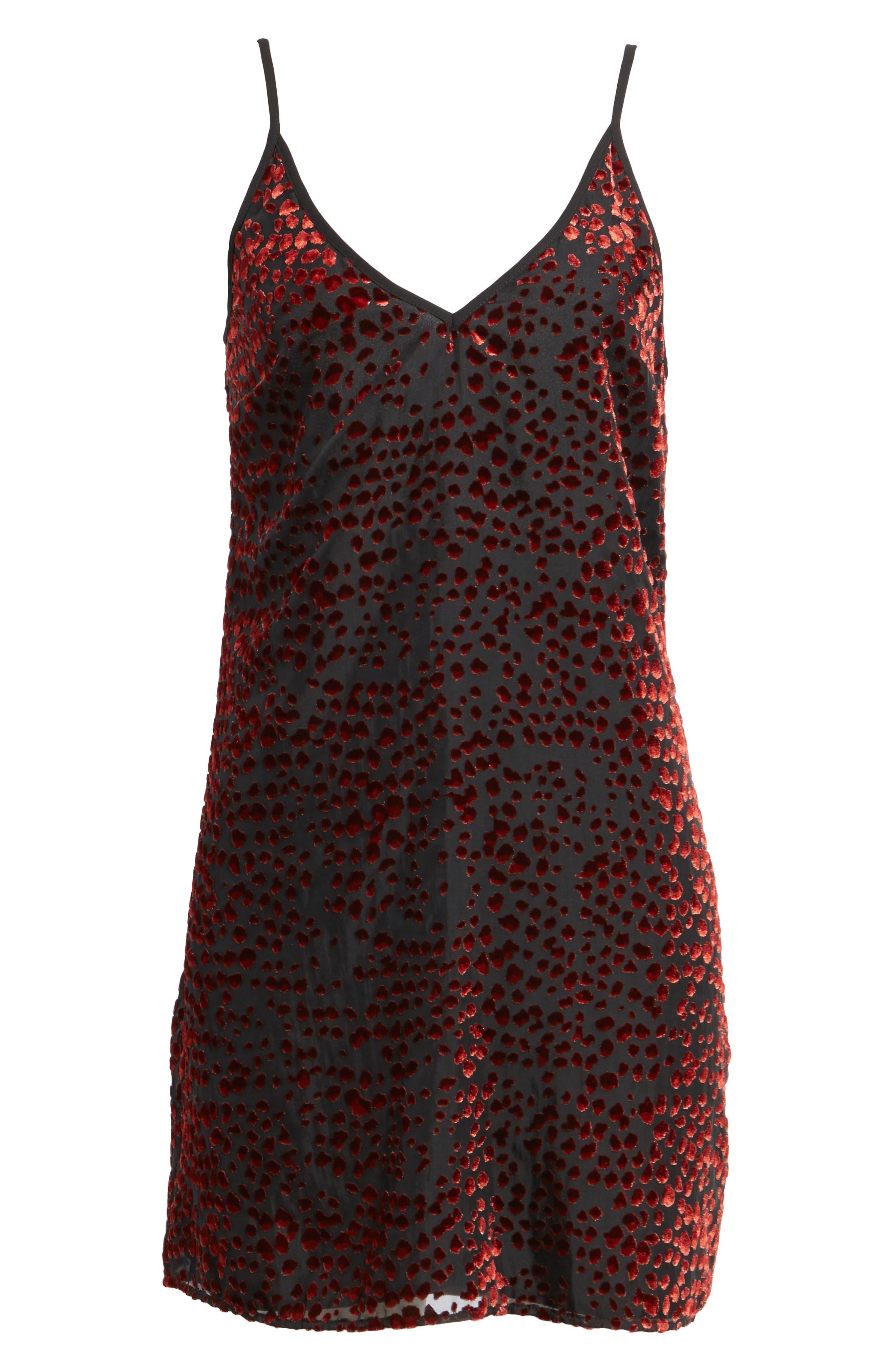 Lamont Cowl Back Minidress,                             Alternate thumbnail 6, color,                             Red Leopard