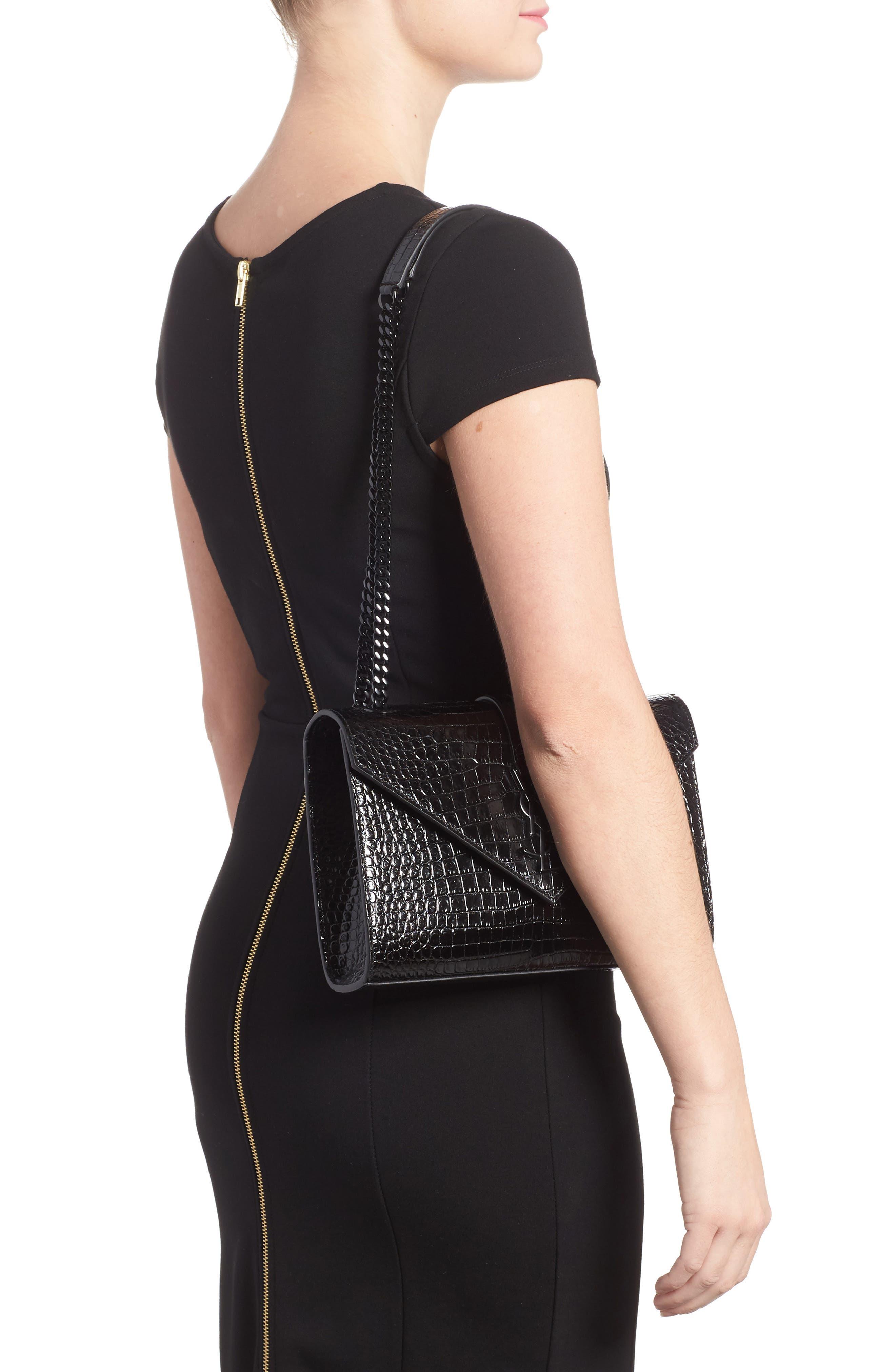 Medium Croc-Embossed Calfskin Shoulder Bag,                             Alternate thumbnail 2, color,                             Noir