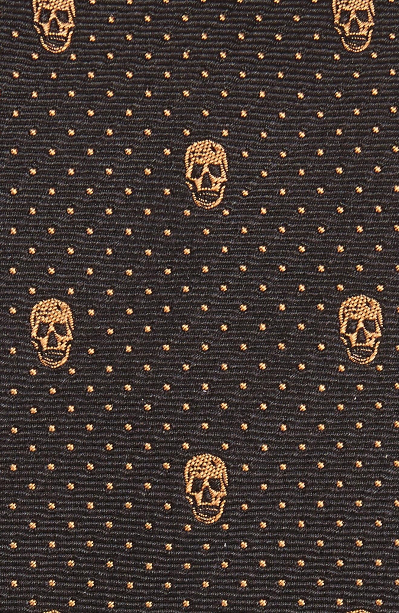 Skull Polka Dot Silk Skinny Tie,                             Alternate thumbnail 2, color,                             Grey