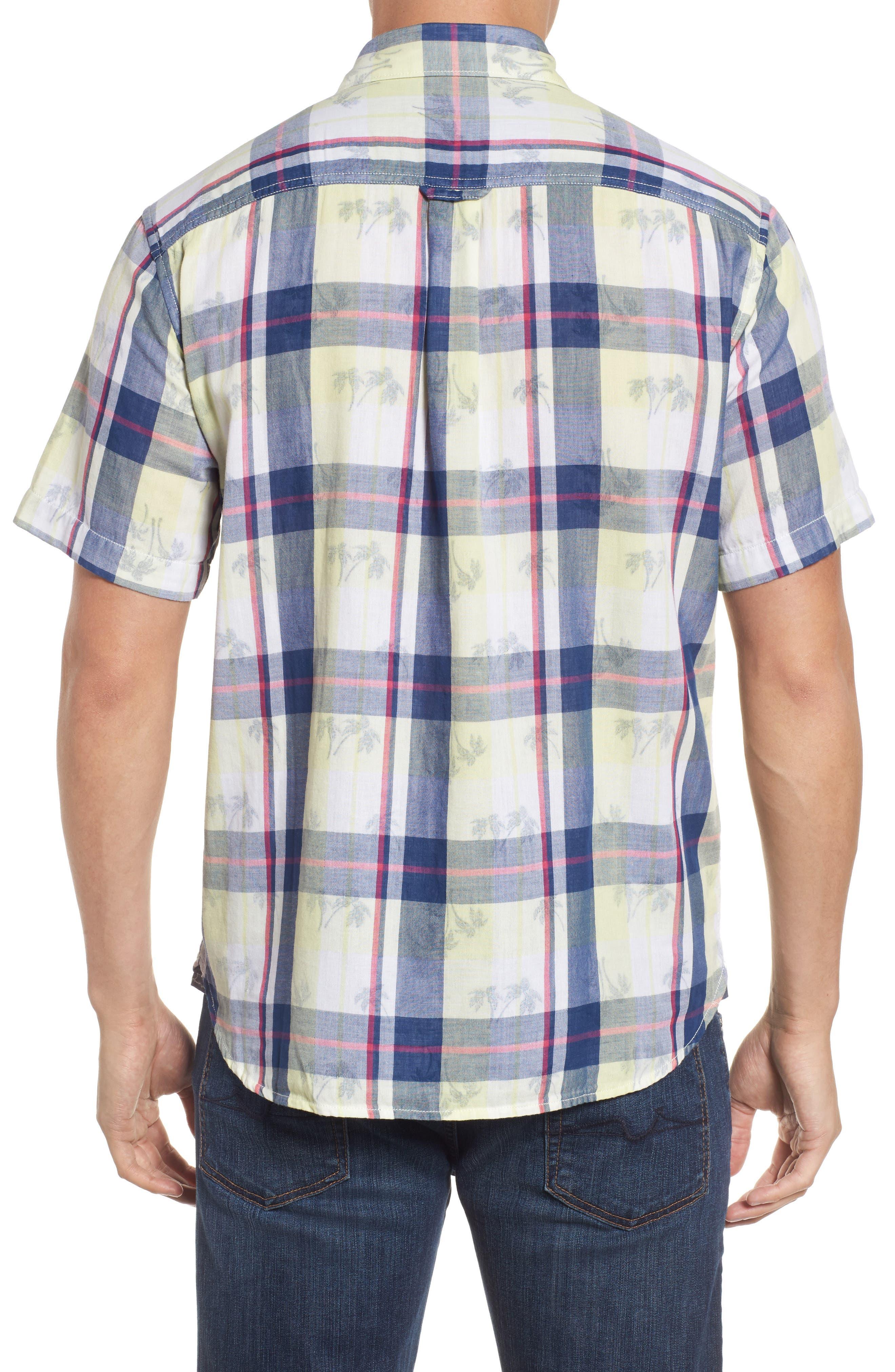Double Flora Plaid Cotton Camp Shirt,                             Alternate thumbnail 2, color,                             Kingdom Blue