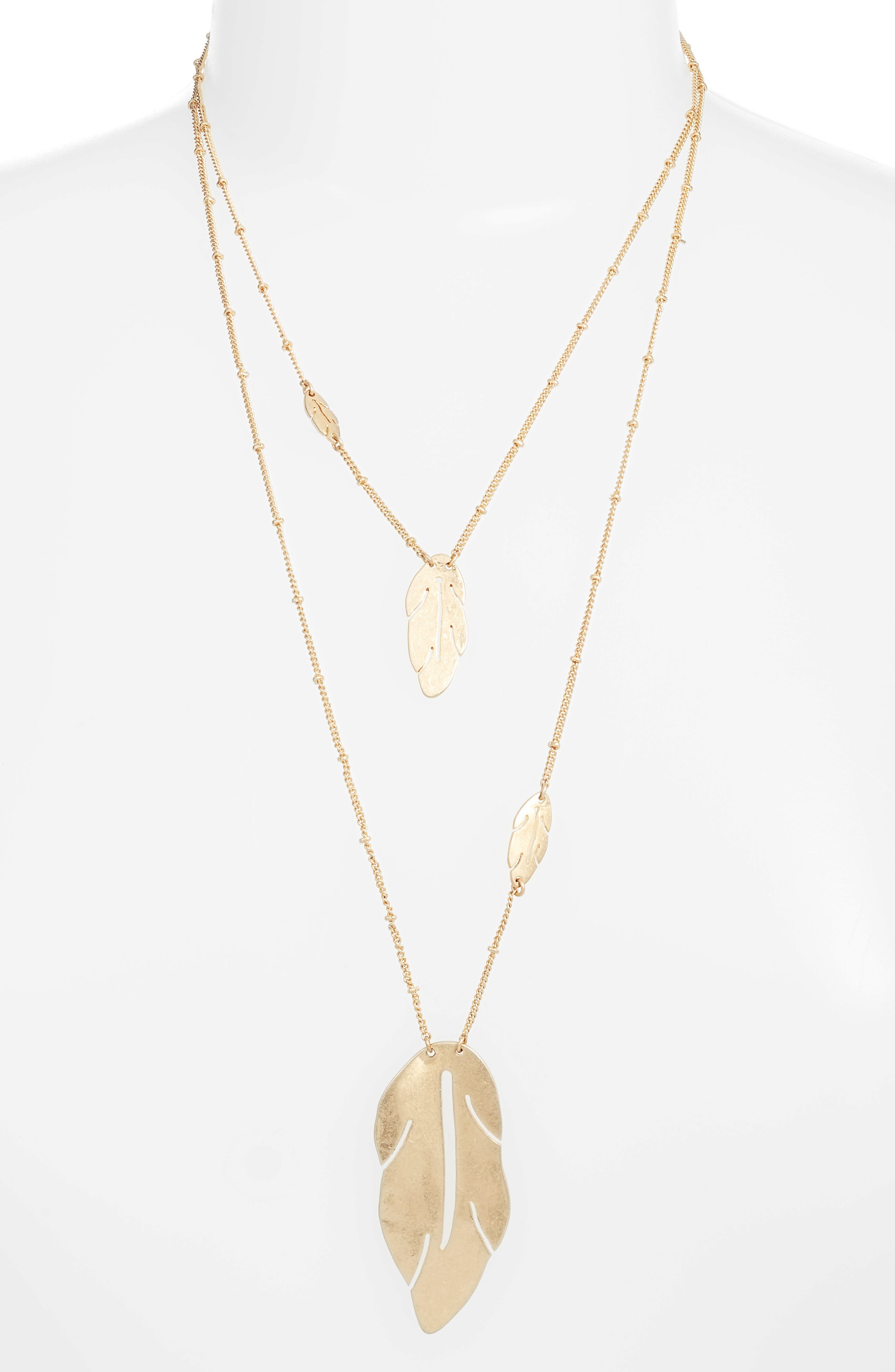 Layered Leaf Necklace,                         Main,                         color, Gold