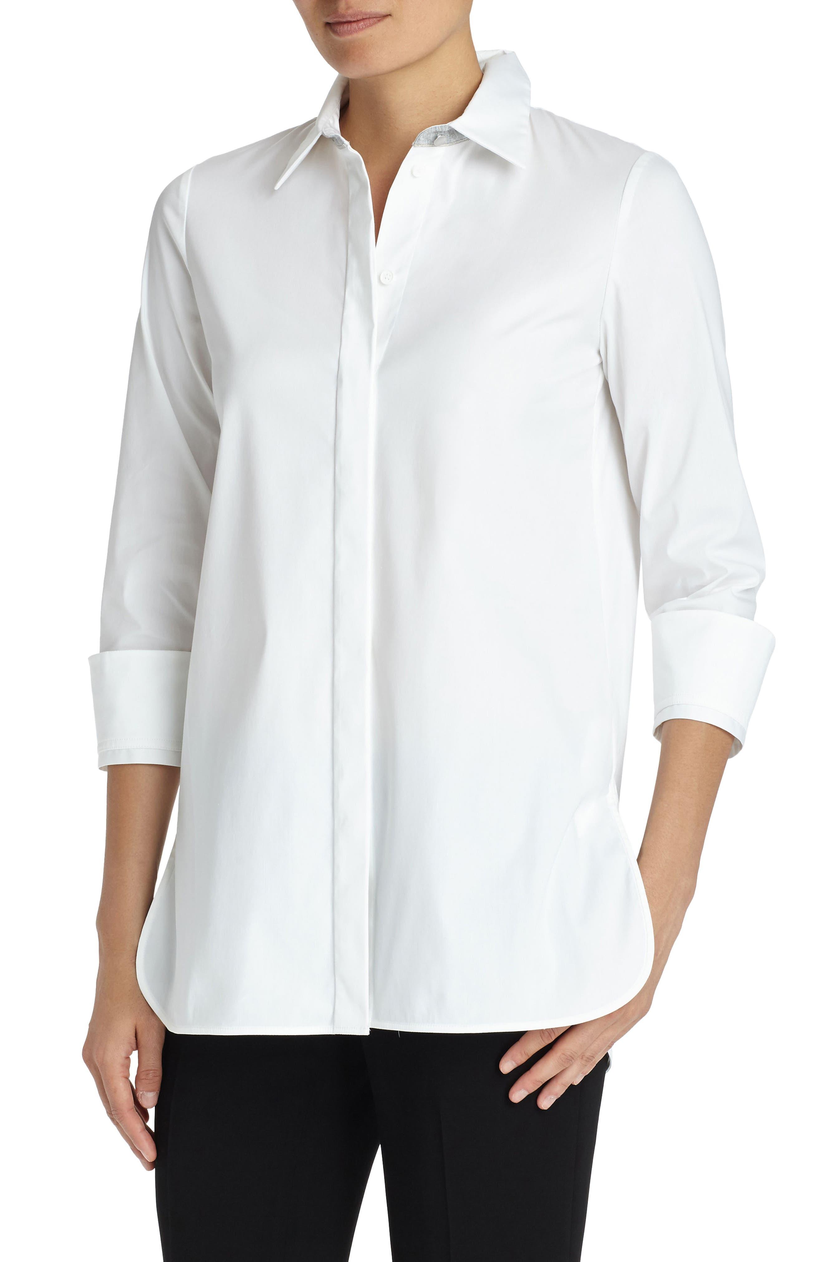 Augusta Stretch Cotton Shirt,                             Main thumbnail 1, color,                             White
