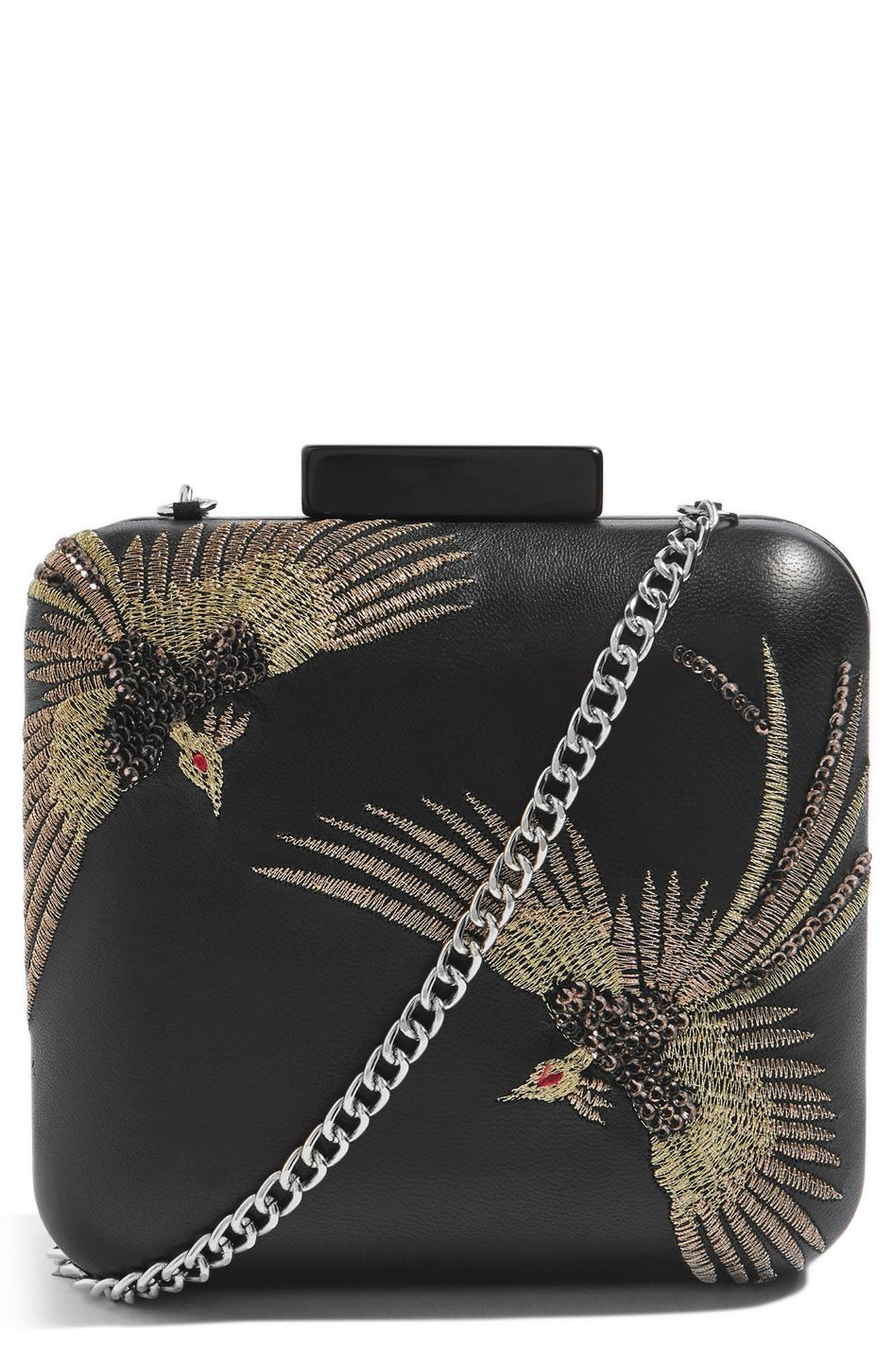 Embroidered Bird Boxy Leather Crossbody Bag,                             Main thumbnail 1, color,                             Black Multi