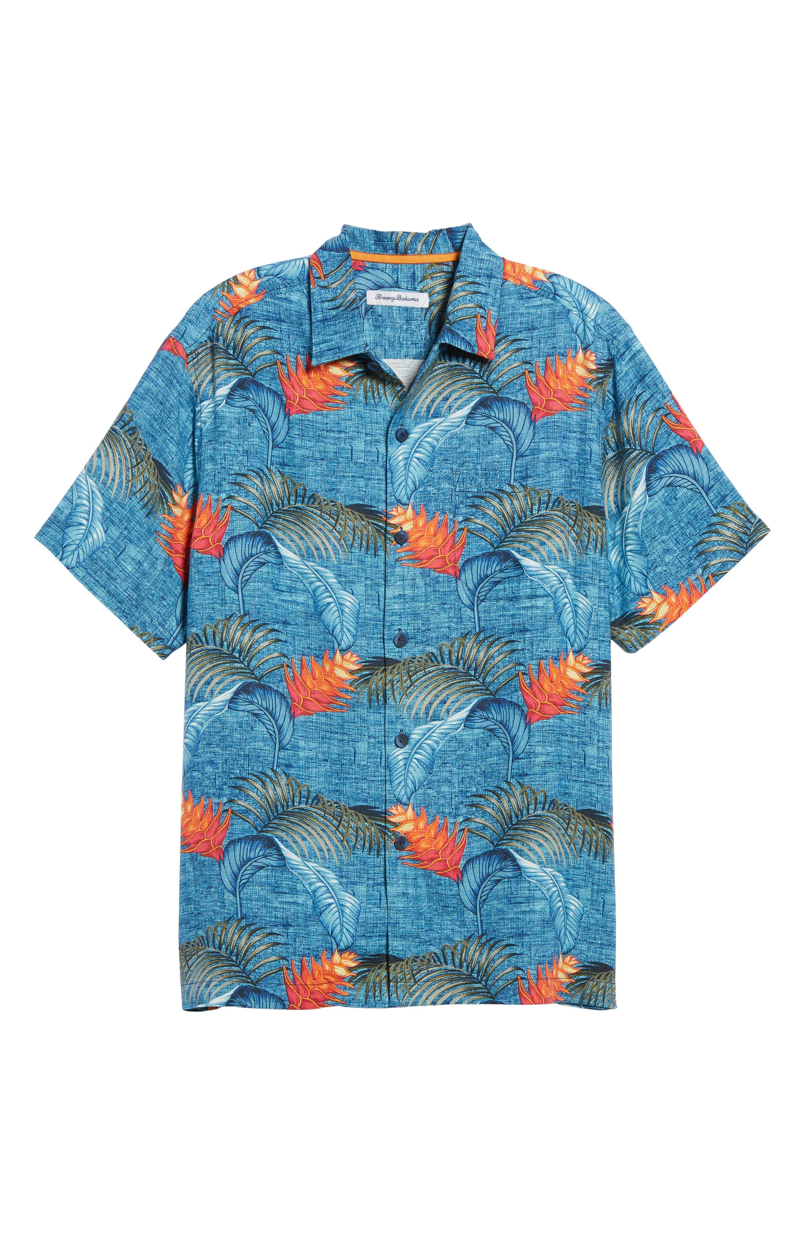 Boca Bouquet Silk Camp Shirt,                             Alternate thumbnail 6, color,                             Kingdom Blue