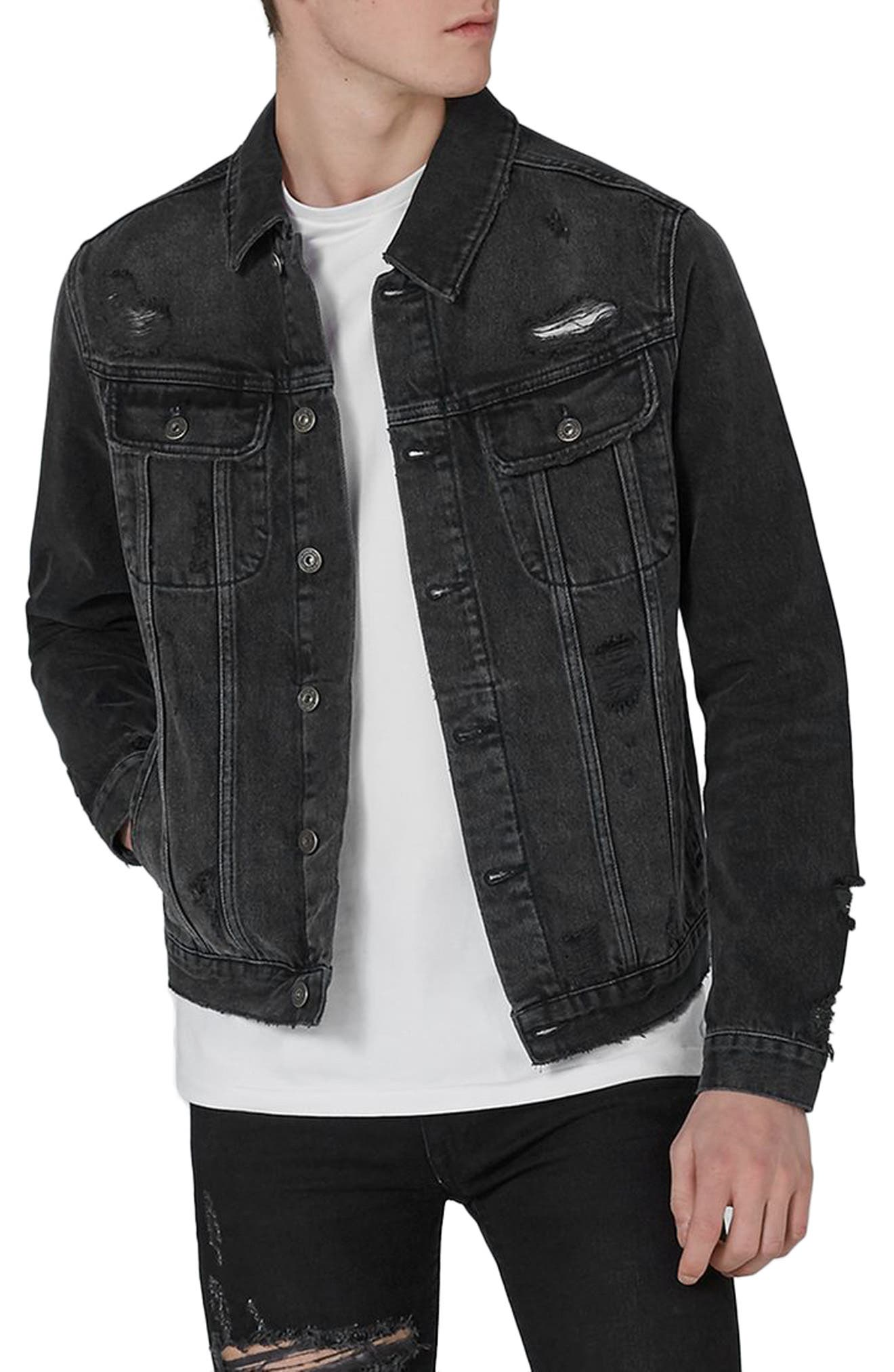 Main Image - Topman Piro Distressed Denim Jacket