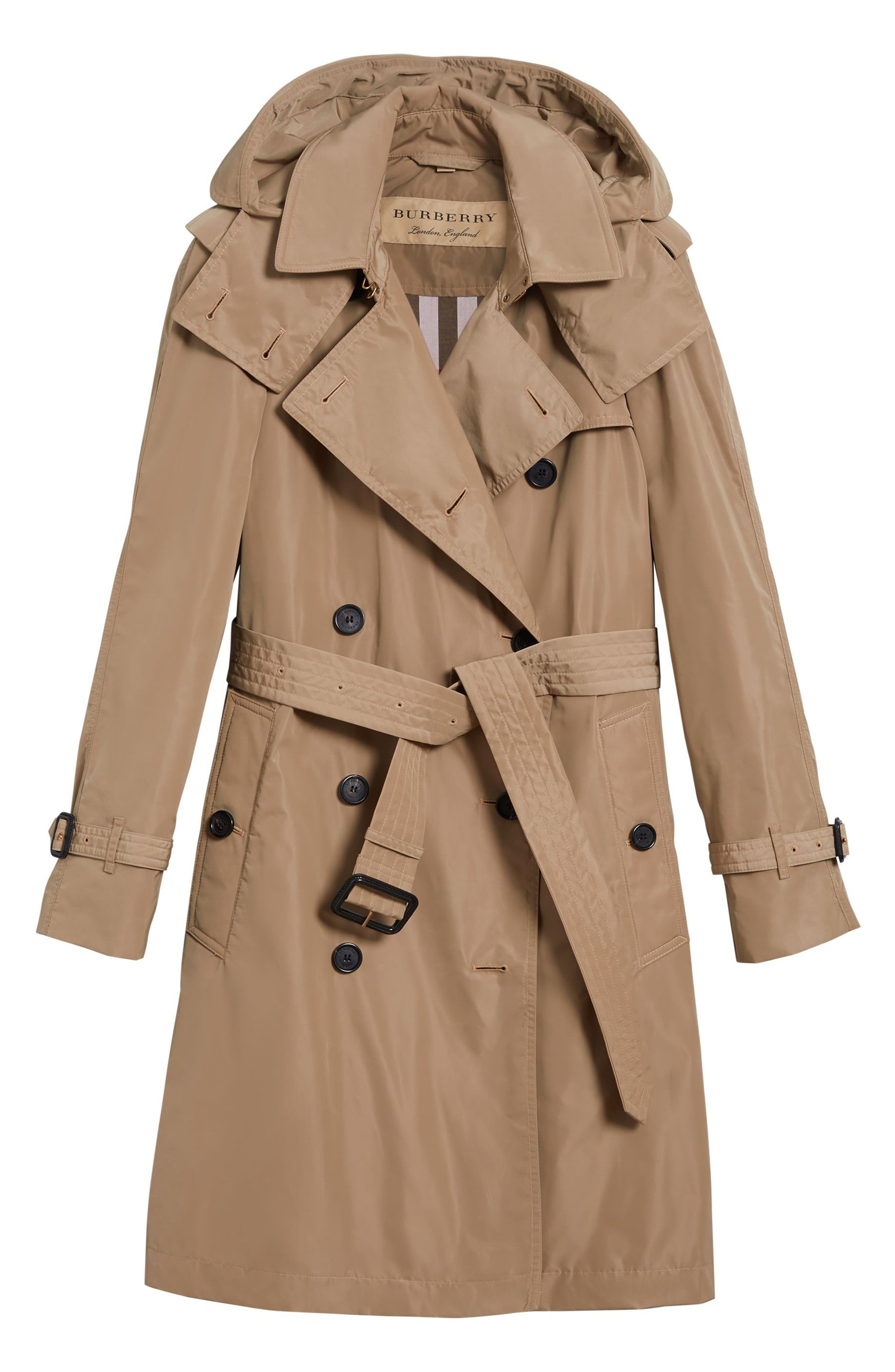 Amberford Taffeta Trench Coat with Detachable Hood,                             Alternate thumbnail 6, color,                             Sisal