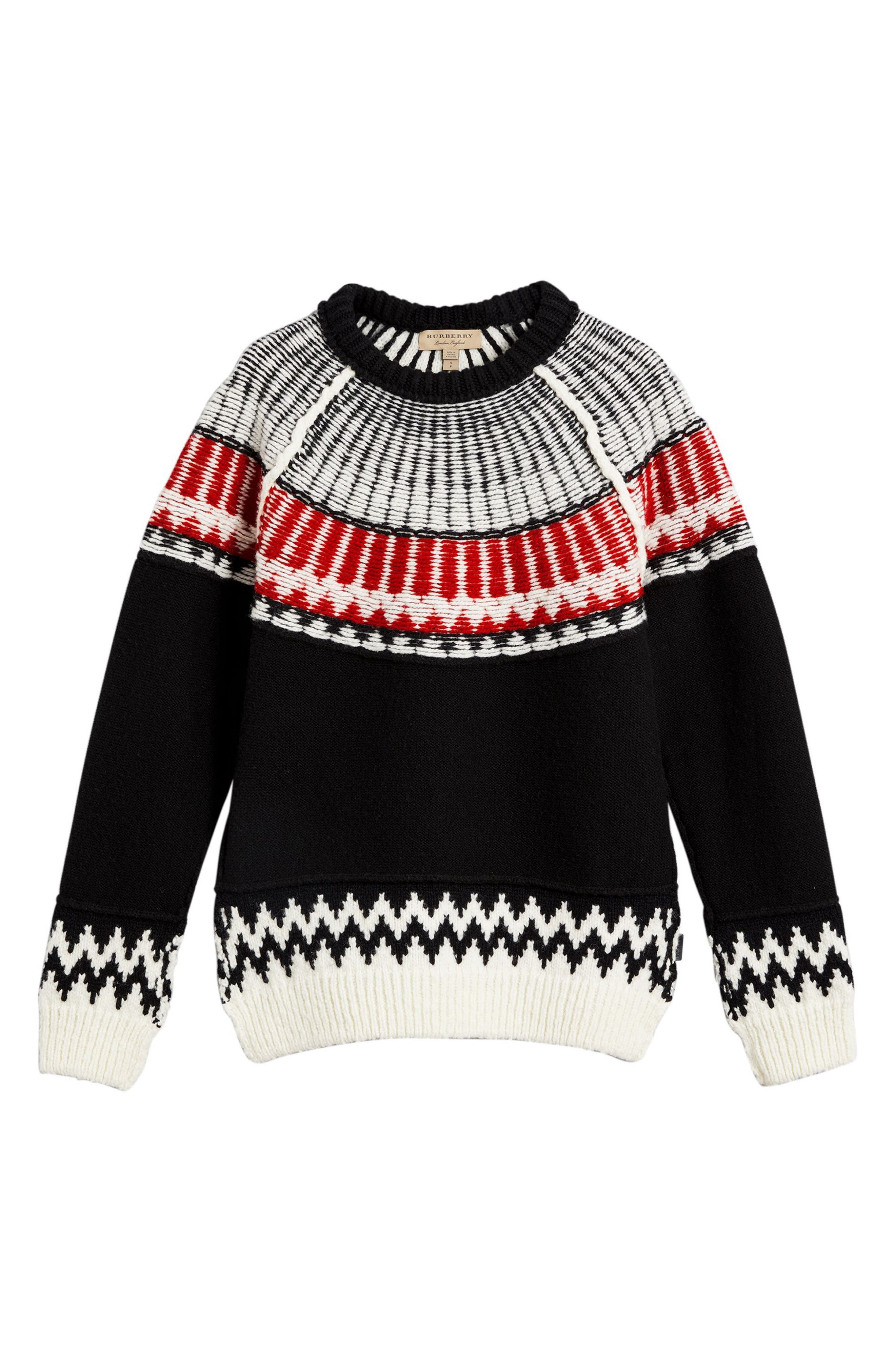 Trycroft Fair Isle Wool Blend Sweater,                             Alternate thumbnail 6, color,                             Black/ Military Red