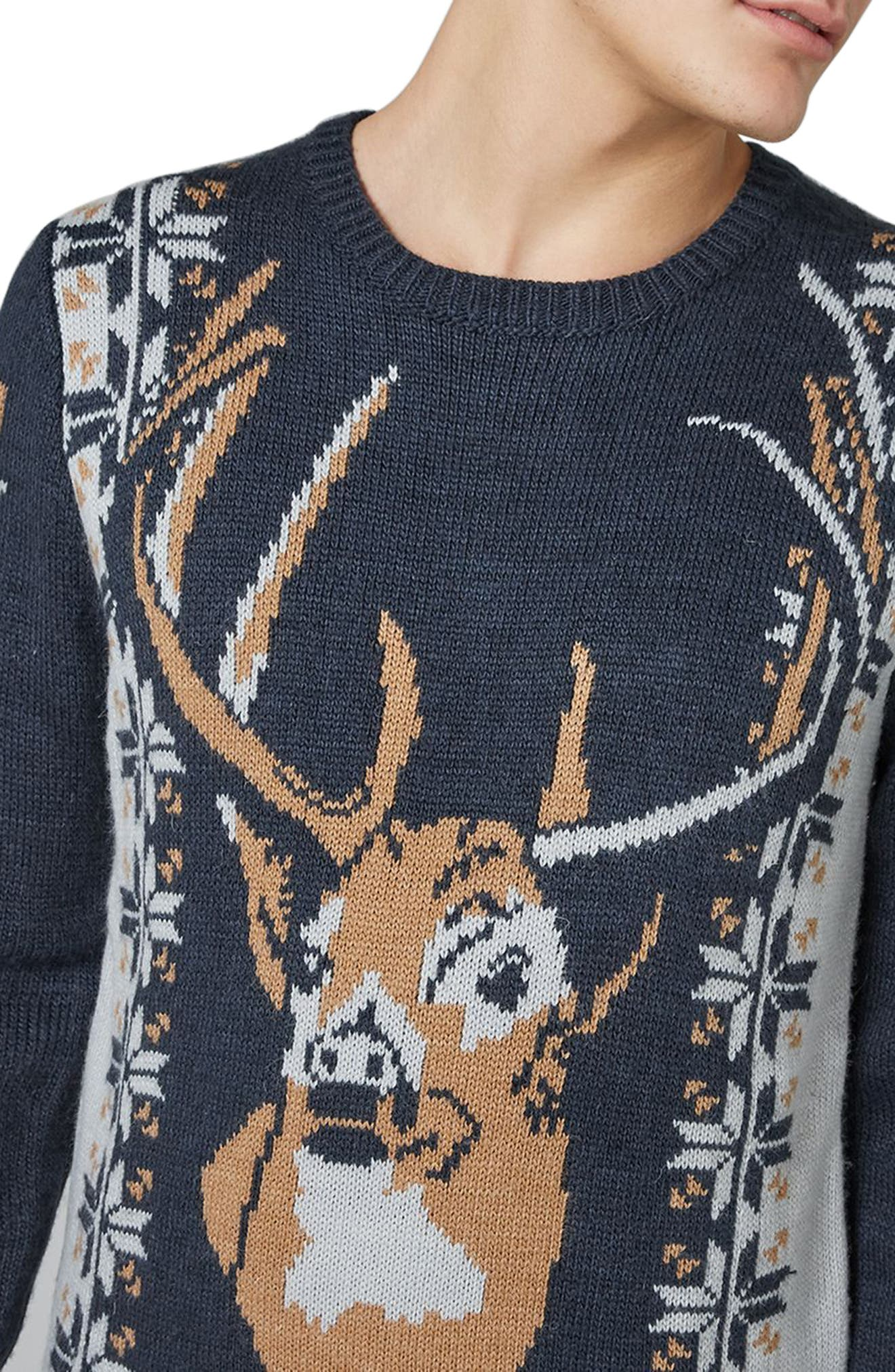 Vintage Stag Sweater,                             Alternate thumbnail 3, color,                             Navy Blue Multi