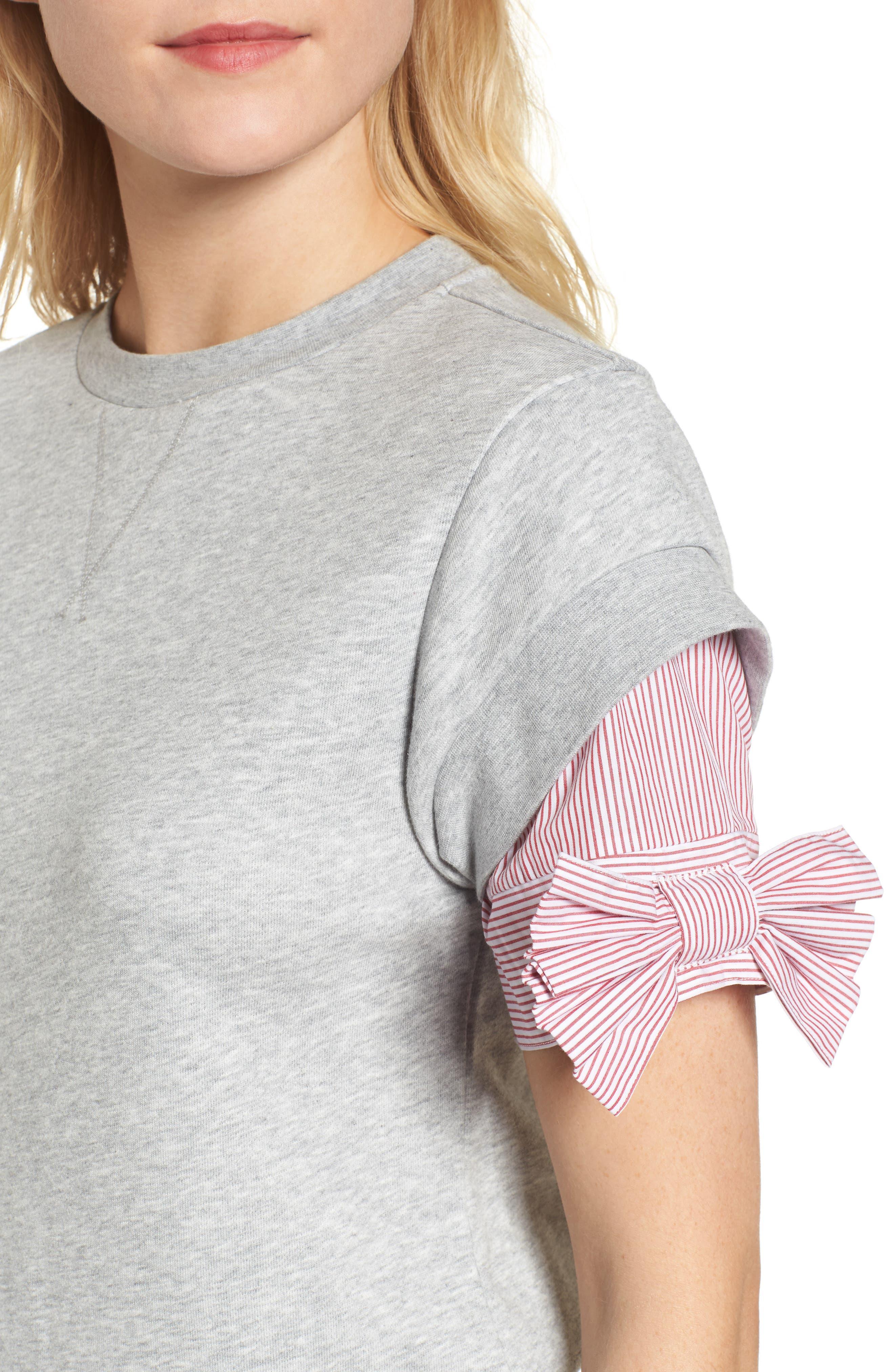 Bow Sleeve Sweatshirt,                             Alternate thumbnail 4, color,                             Grey Heather
